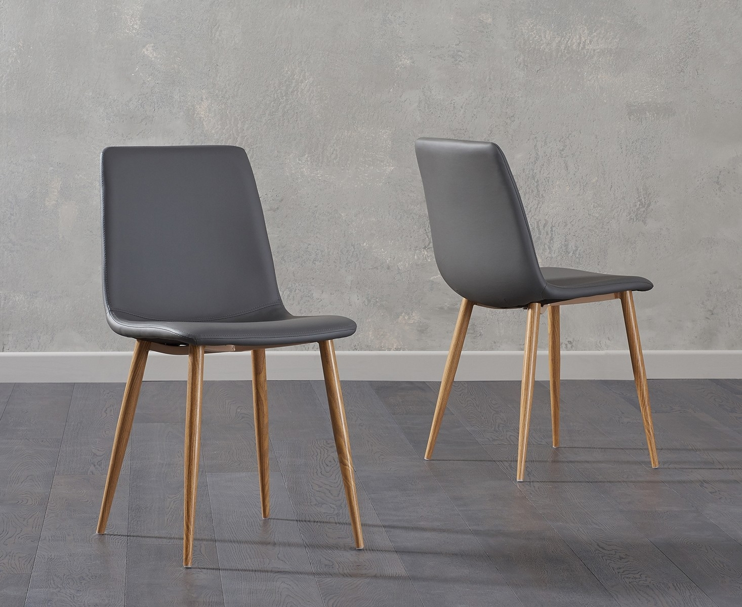 Mark Harris Hatfield Grey Faux Leather Dining Chair With Wooden Legs (Pair) – Cfs Furniture Uk With Carlton Wood Leg Upholstered Dining Chairs (View 11 of 15)
