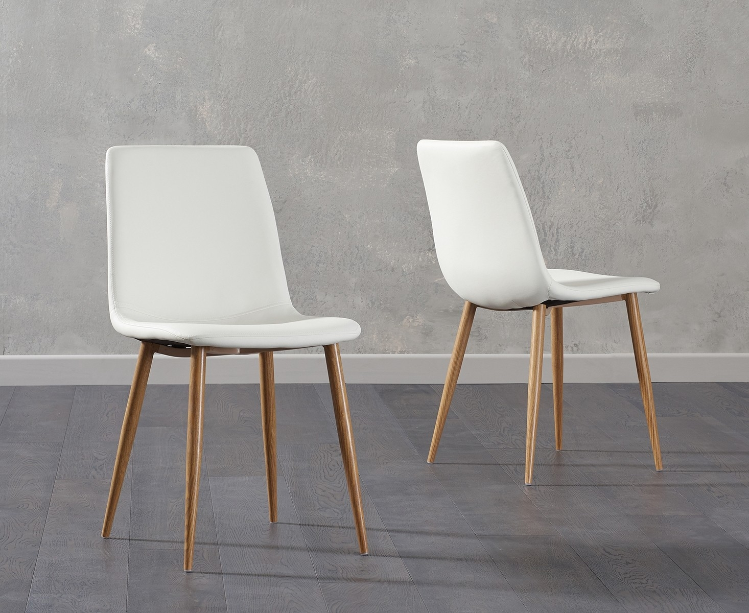 Mark Harris Hatfield White Faux Leather Dining Chair With Wooden Legs (Pair) – Cfs Furniture Uk Inside Carlton Wood Leg Upholstered Dining Chairs (View 15 of 15)