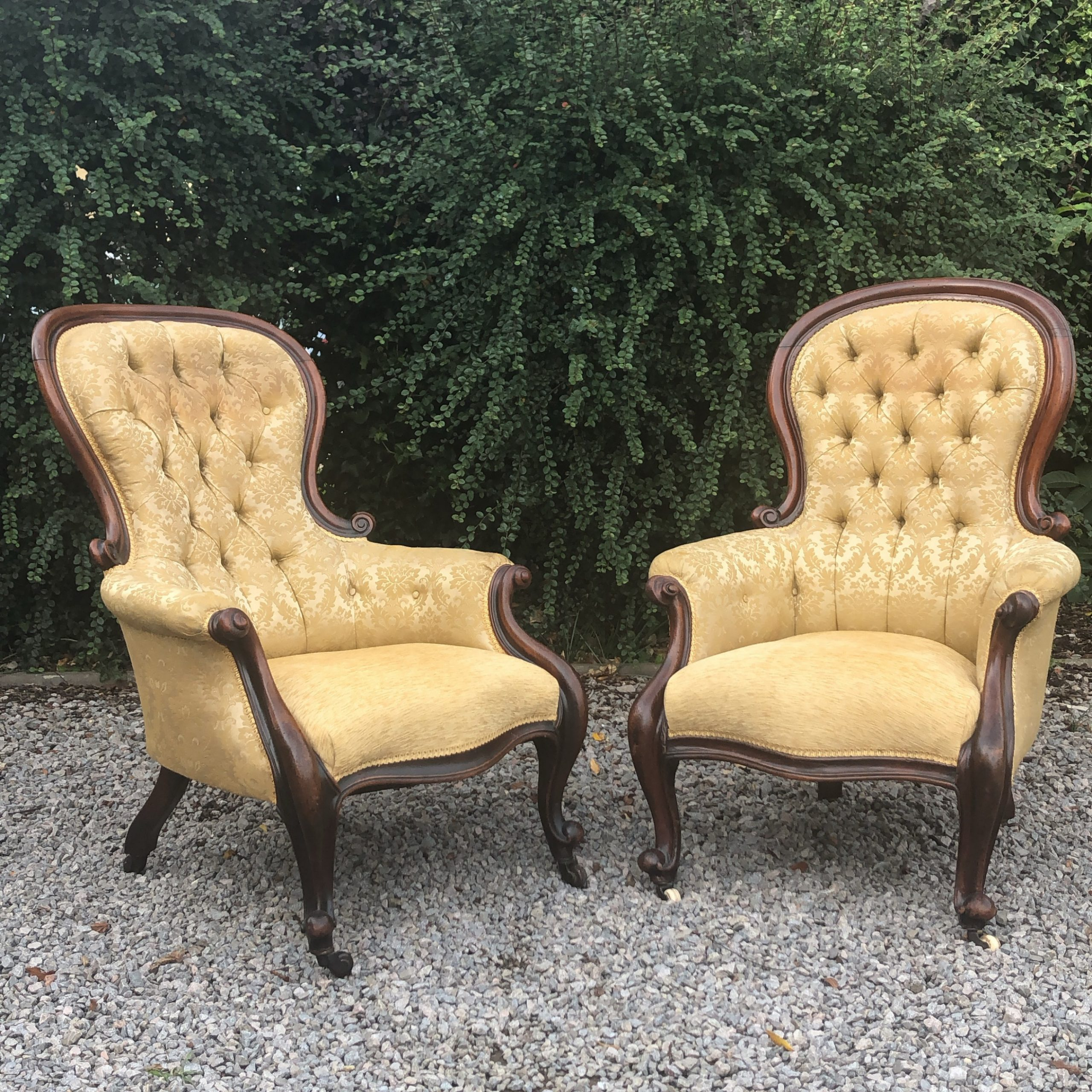 Matched Pair Victorian Mahogany Button Back Armchairs Regarding Reynolds Armchairs (View 3 of 15)