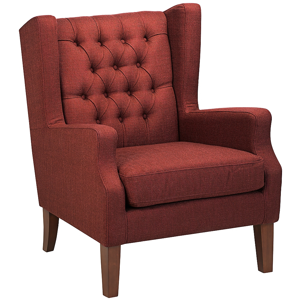Maxwell Lillian Tufted Russet Red Armchair – Style # 7D068 In Galesville Tufted Polyester Wingback Chairs (View 12 of 15)