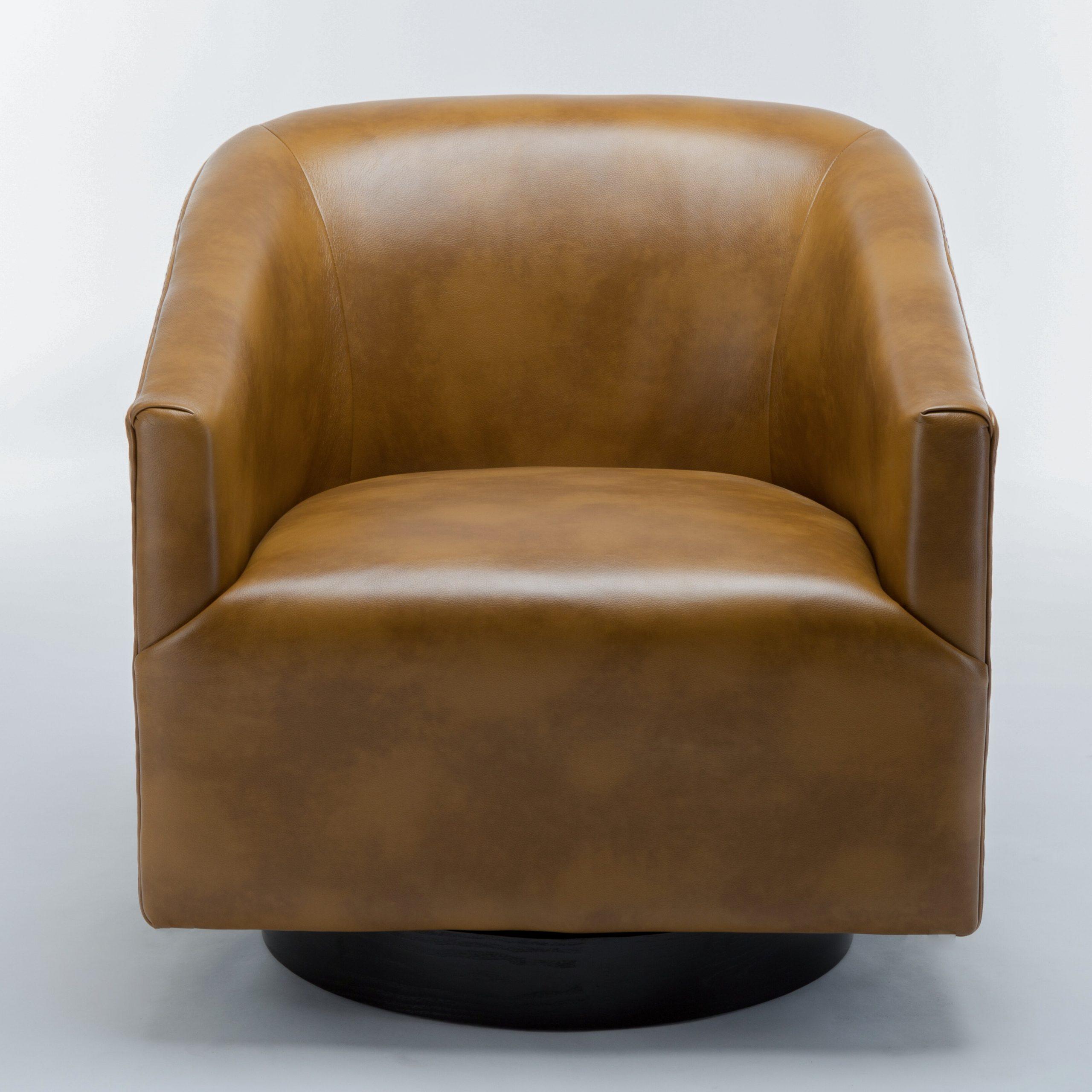 """Mcintyre 30"""" W Faux Leather Swivel Barrel Chair For Faux Leather Barrel Chairs (View 4 of 15)"""
