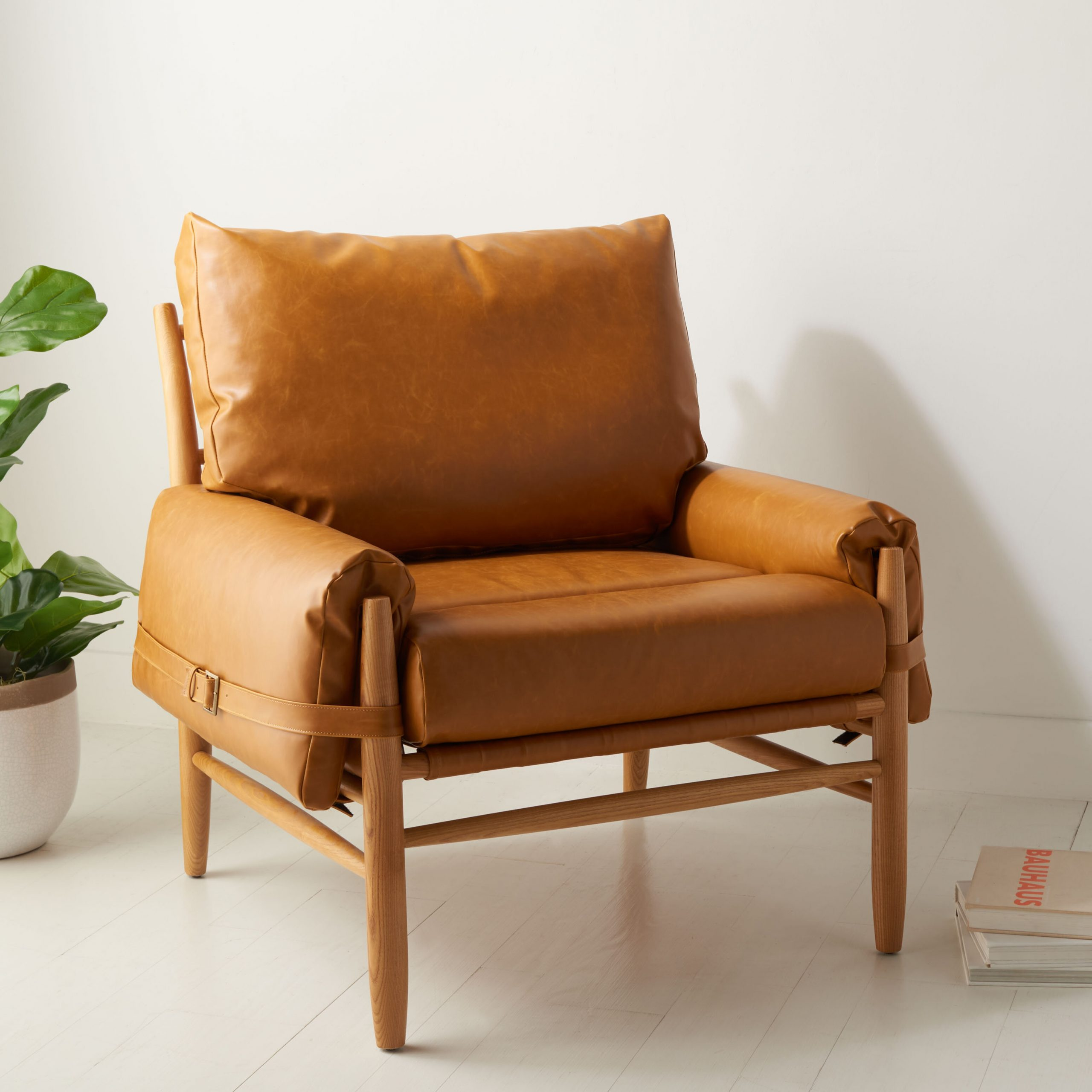 """Mendiola 34.7"""" W Faux Leather Armchair Inside Jarin Faux Leather Armchairs (Photo 6 of 15)"""