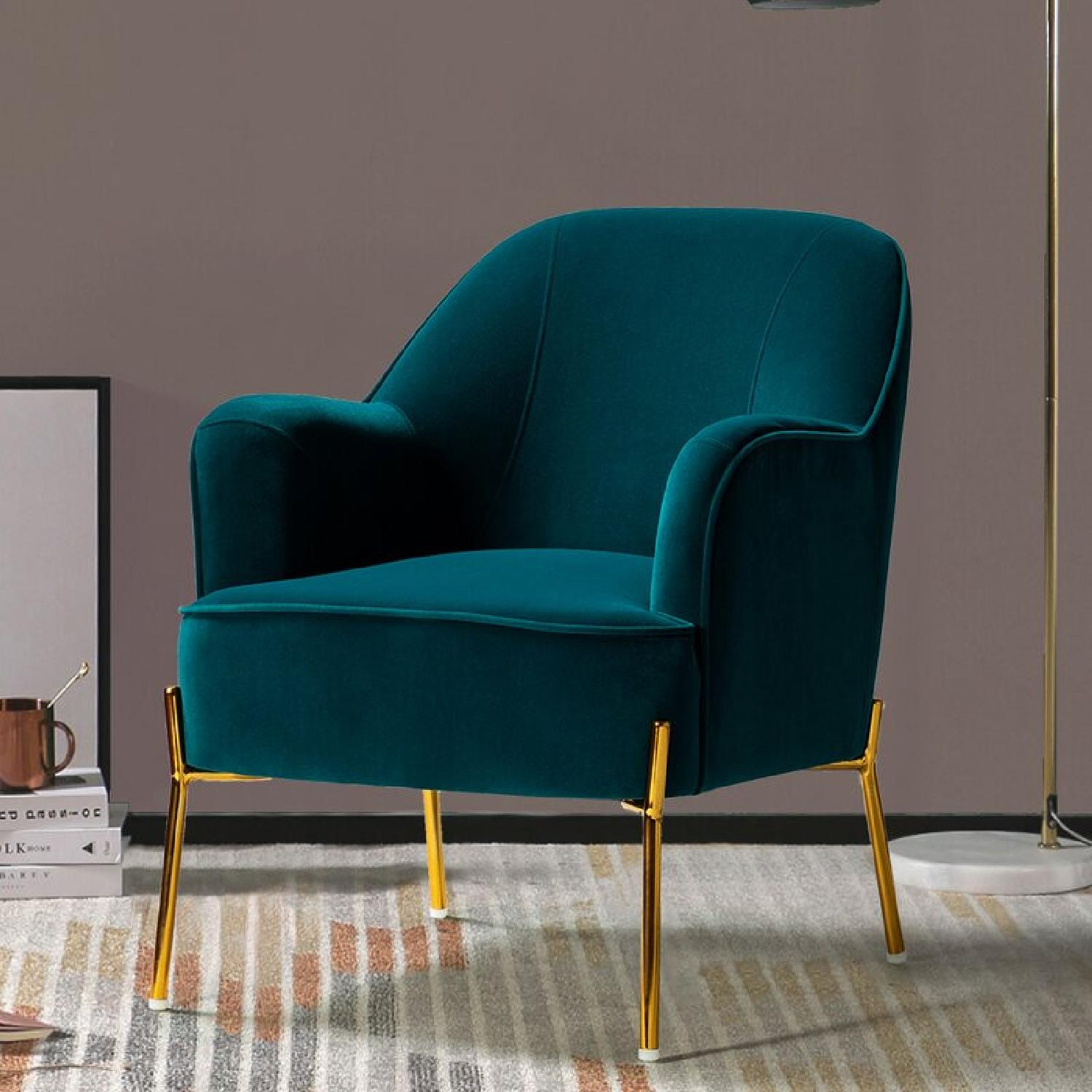 Mercury Row Erastus Armchair In Teal Intended For Erastus Armchairs (View 12 of 15)