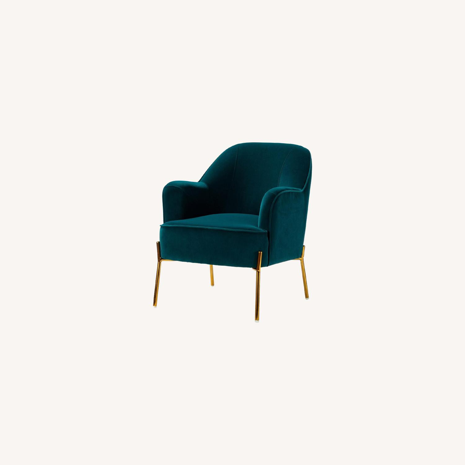 Mercury Row Erastus Armchair In Teal Regarding Erastus Armchairs (View 10 of 15)