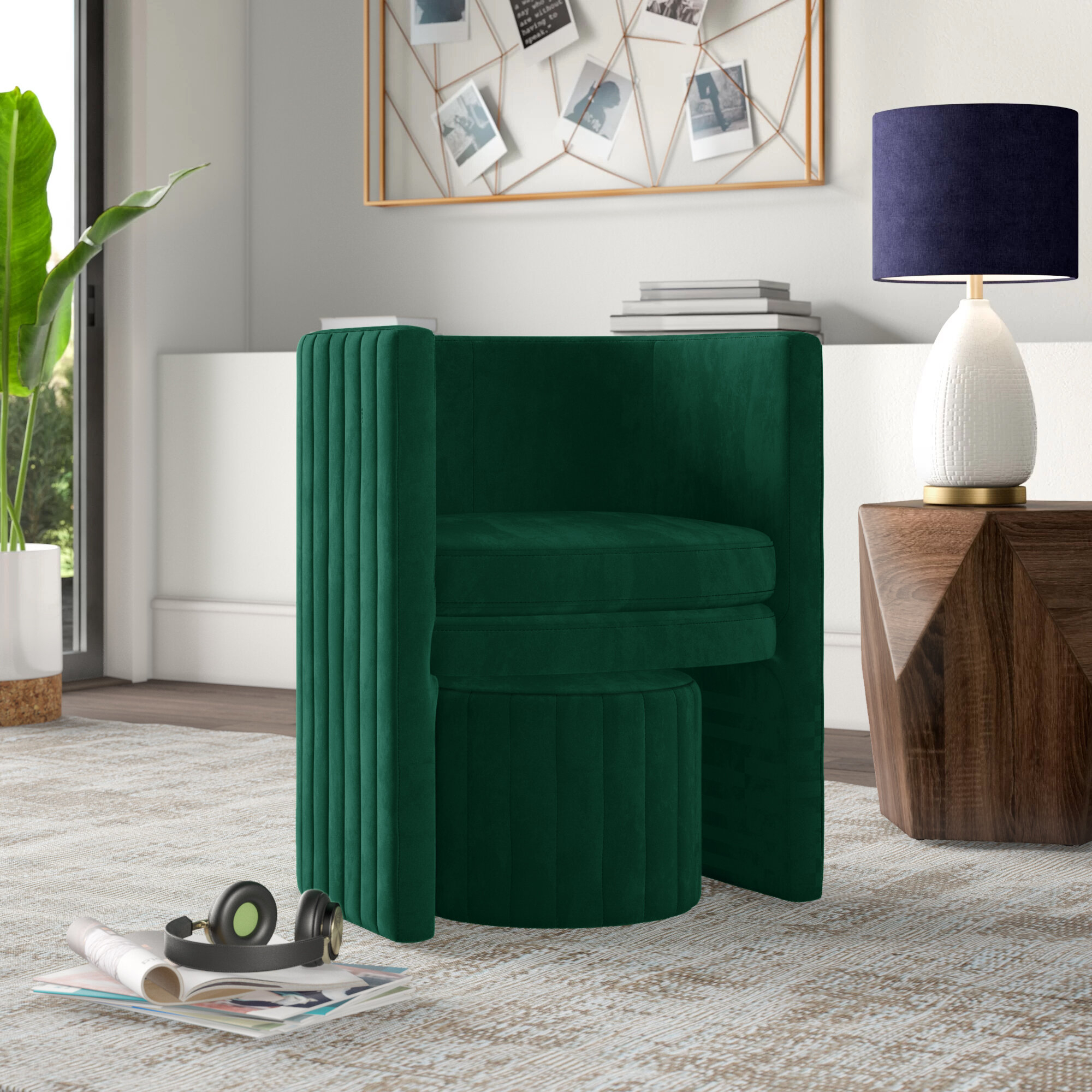 Mercury Row® Teen Malek Barrel Chair And Ottoman & Reviews In Harmon Cloud Barrel Chairs And Ottoman (View 8 of 15)