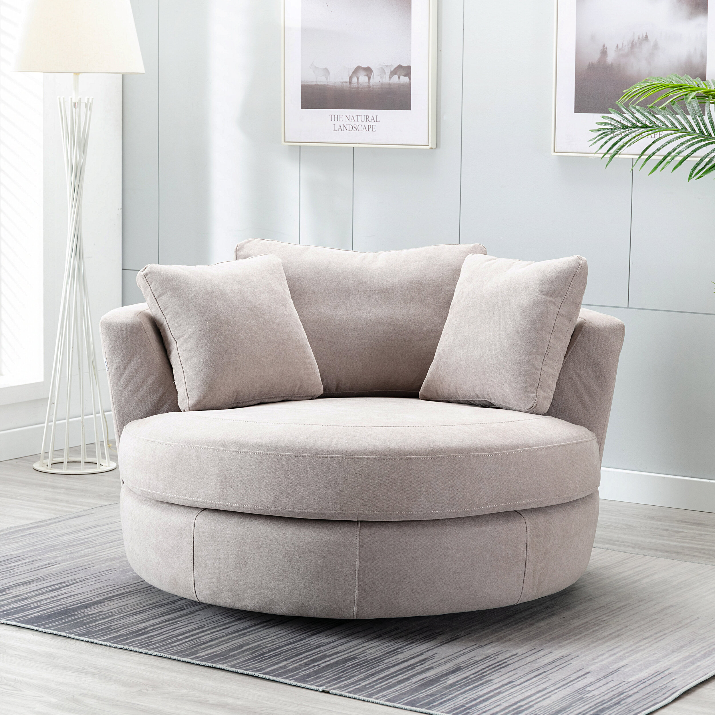 Minorca Elegant Round Swivel Barrel Chair With Artemi Barrel Chair And Ottoman Sets (View 14 of 15)