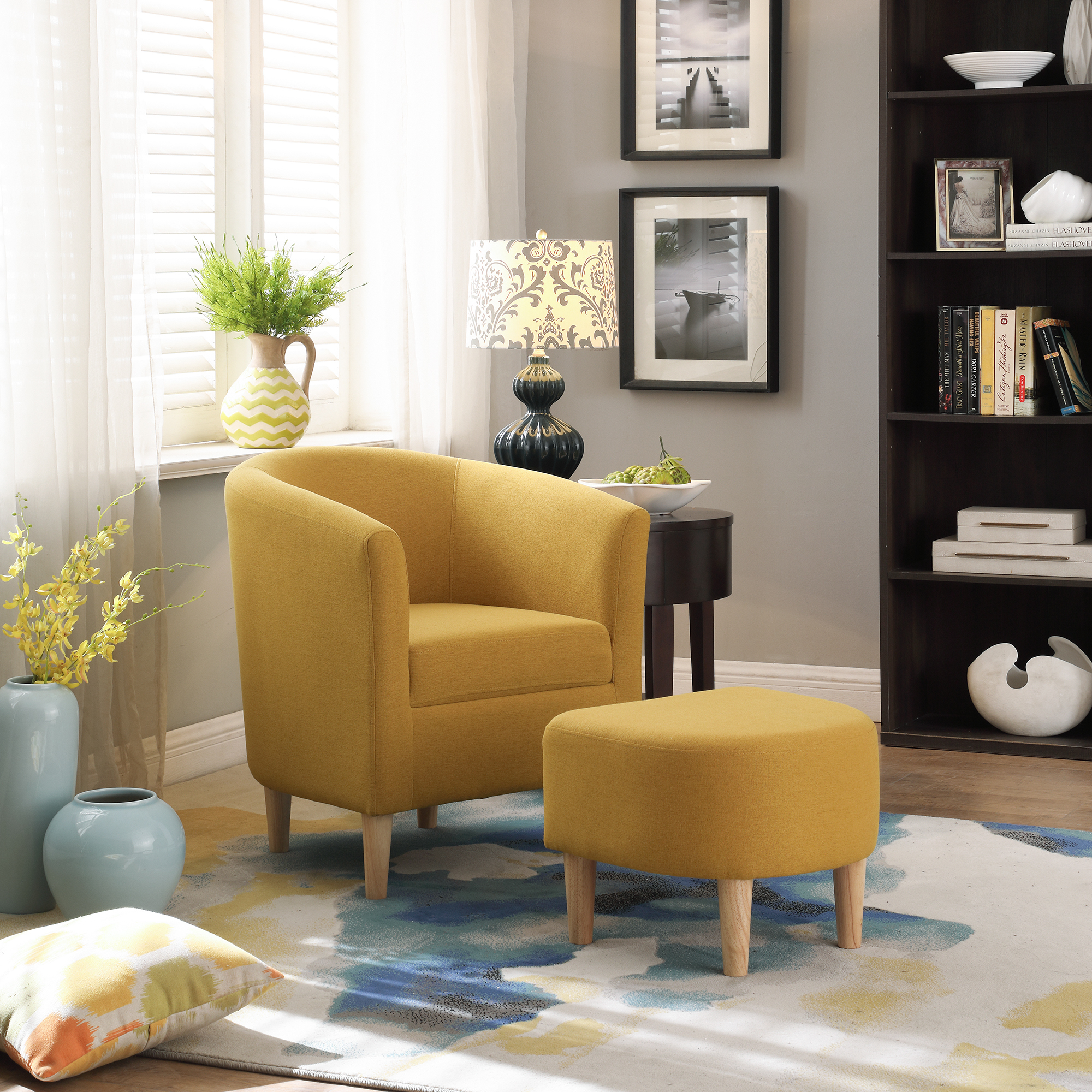 Modern Accent Arm Chair Upholstered Chair Fabric Single Sofa + Ottoman Foot Rest Yellow – Walmart Inside Modern Armchairs And Ottoman (View 11 of 15)
