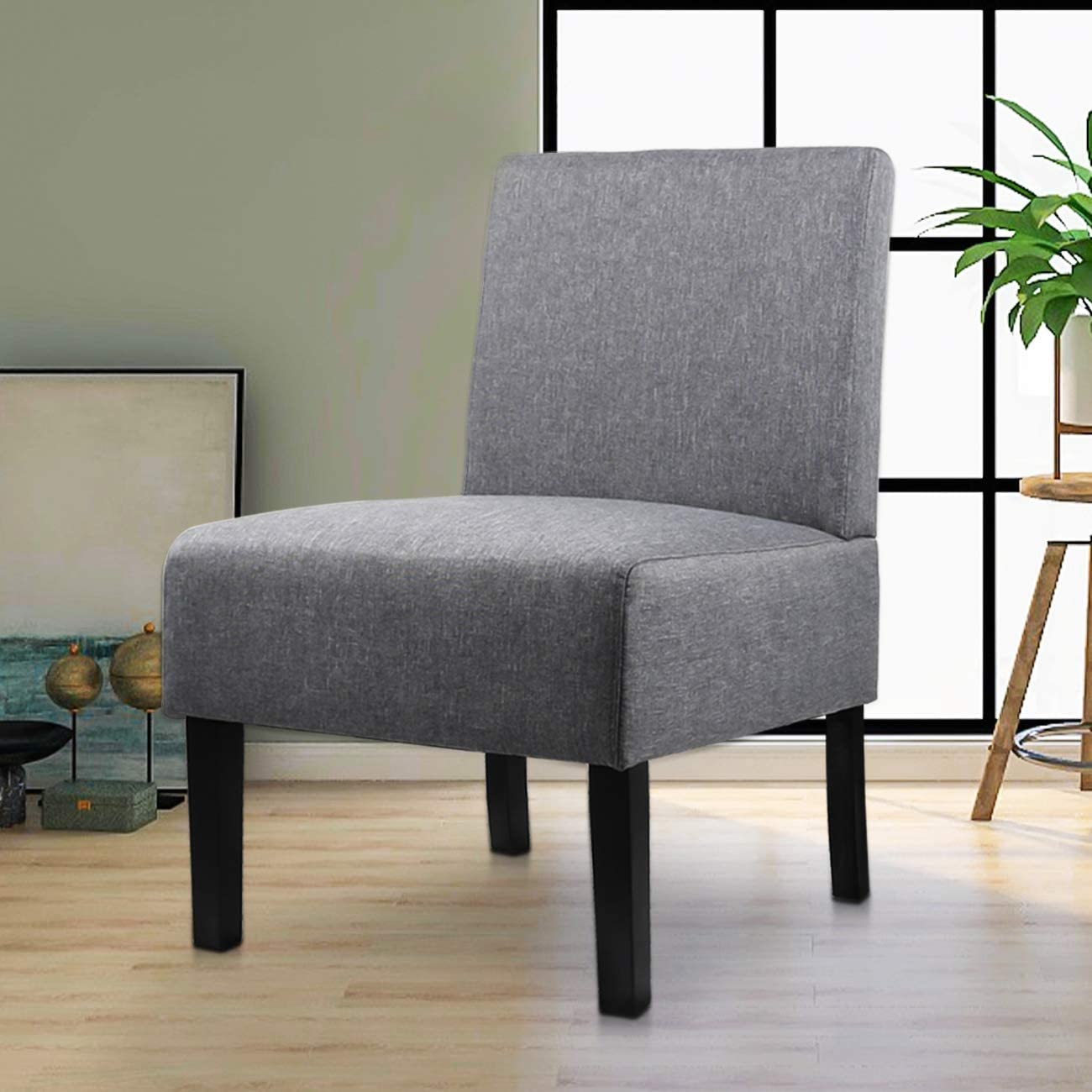 Modern Fabric Armless Accent Chair Decorative Slipper Chair Vanity Chair For Bedroom Desk, Corner Side Chair Living Room Furniture Grey – Walmart For Goodyear Slipper Chairs (View 9 of 15)