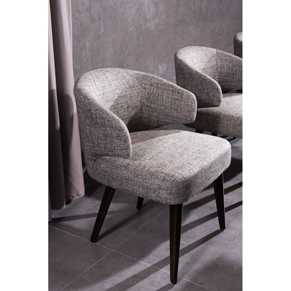Modrest Carlton Grey Fabric Dining Chair Intended For Carlton Wood Leg Upholstered Dining Chairs (View 6 of 15)