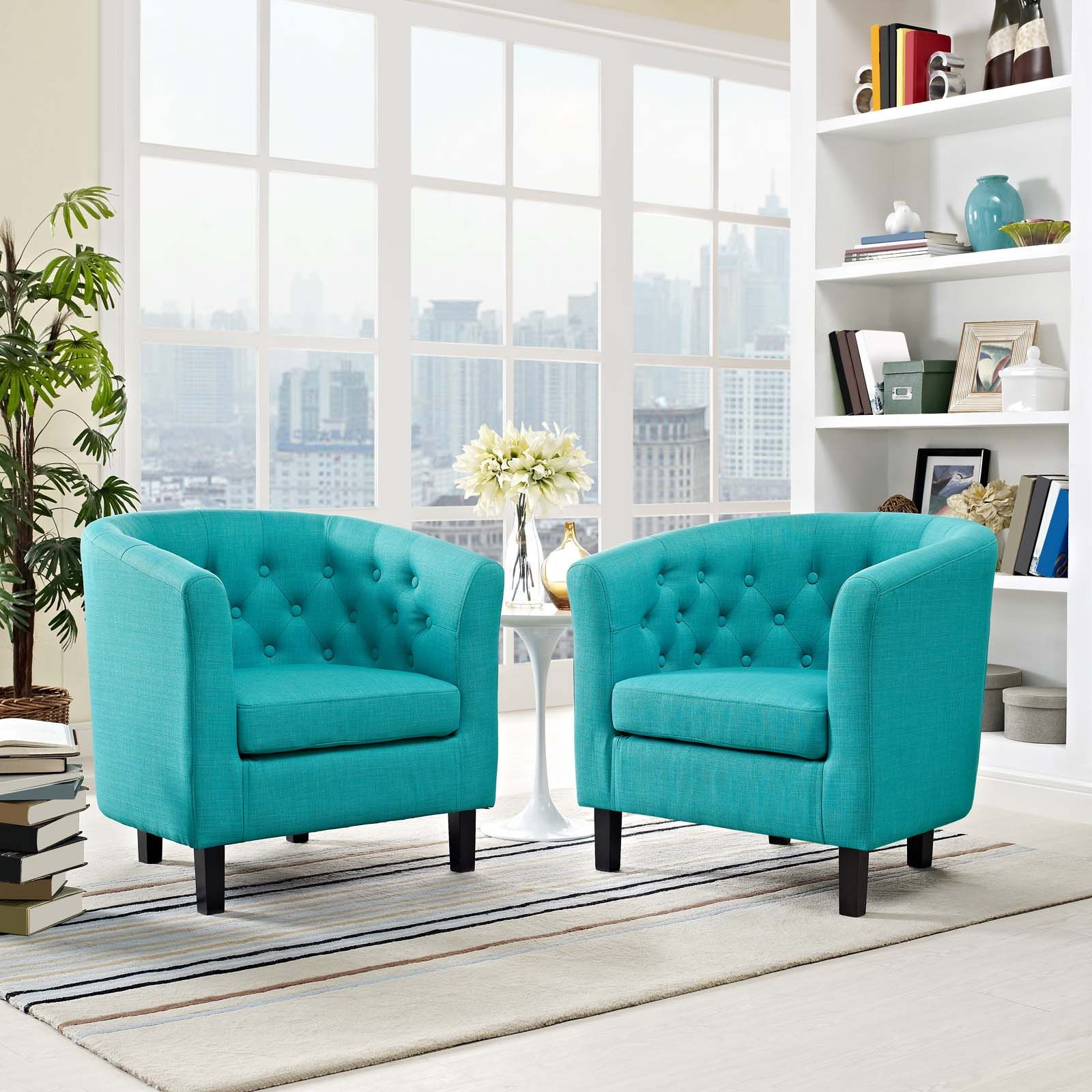 Modway Prospect 2 Piece Upholstered Fabric Armchair Set With Regard To Hutchinsen Polyester Blend Armchairs (View 9 of 15)
