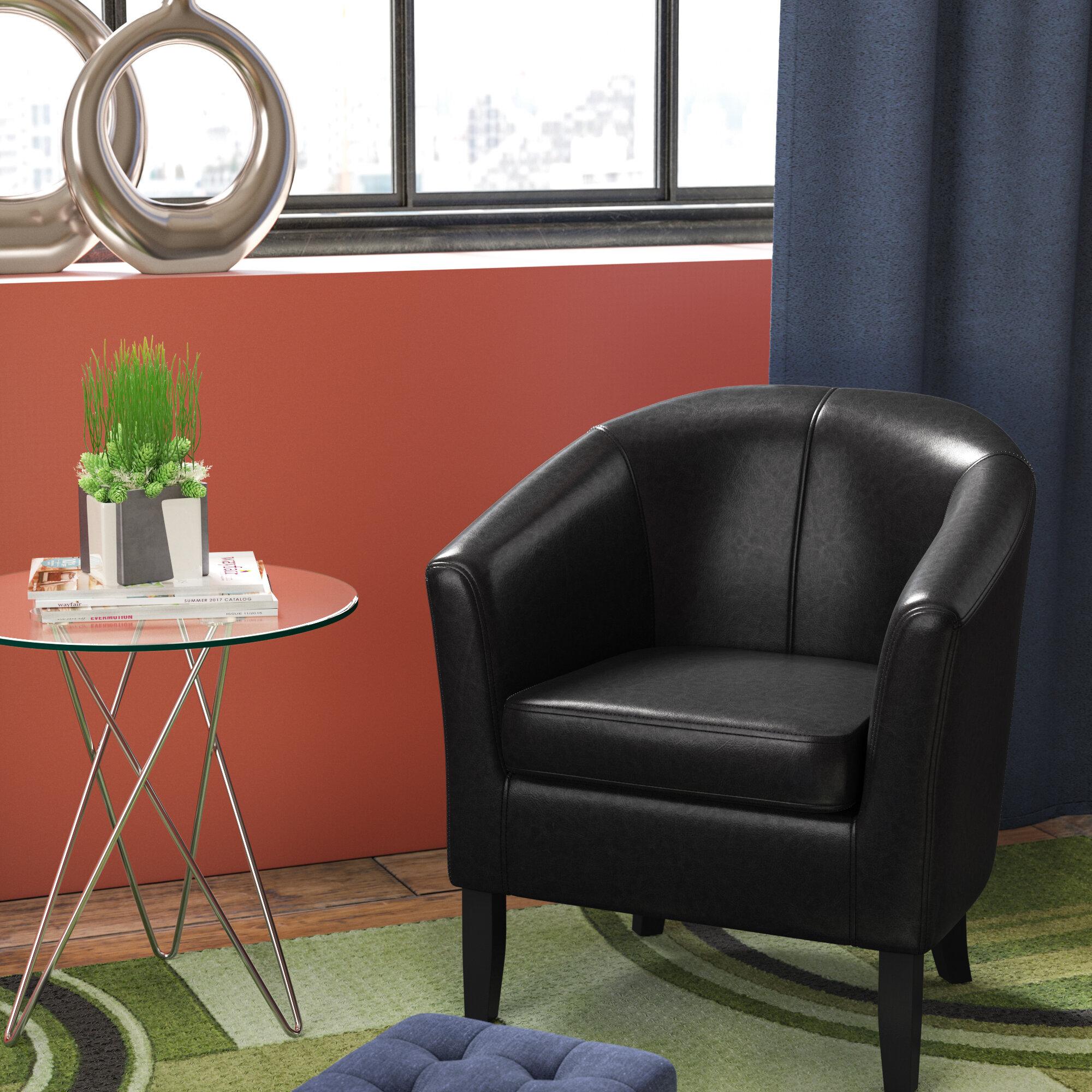 "Munson 26"" W Faux Leather Barrel Chair With Regard To Liam Faux Leather Barrel Chairs (View 9 of 15)"