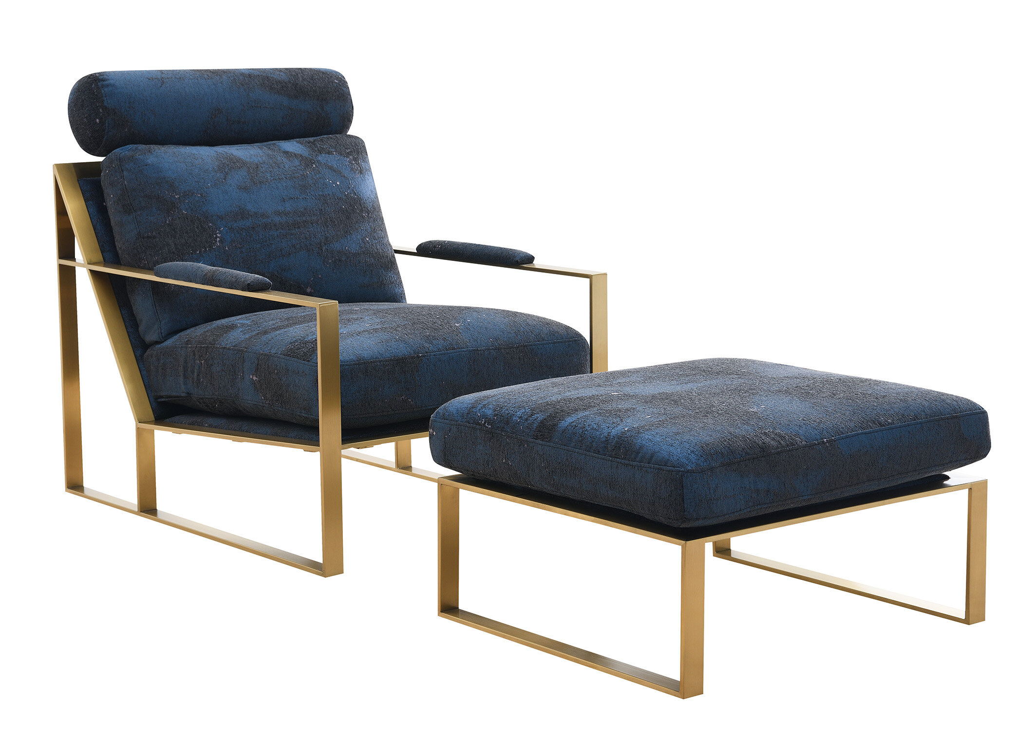 Navy Ottoman Included Accent Chairs You'Ll Love In 2021 Pertaining To Hallsville Performance Velvet Armchairs And Ottoman (View 8 of 15)