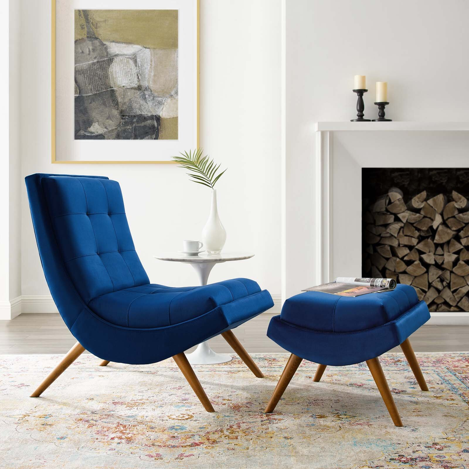 Navy Ottoman Included Accent Chairs You'Ll Love In 2021 Regarding Hallsville Performance Velvet Armchairs And Ottoman (View 3 of 15)