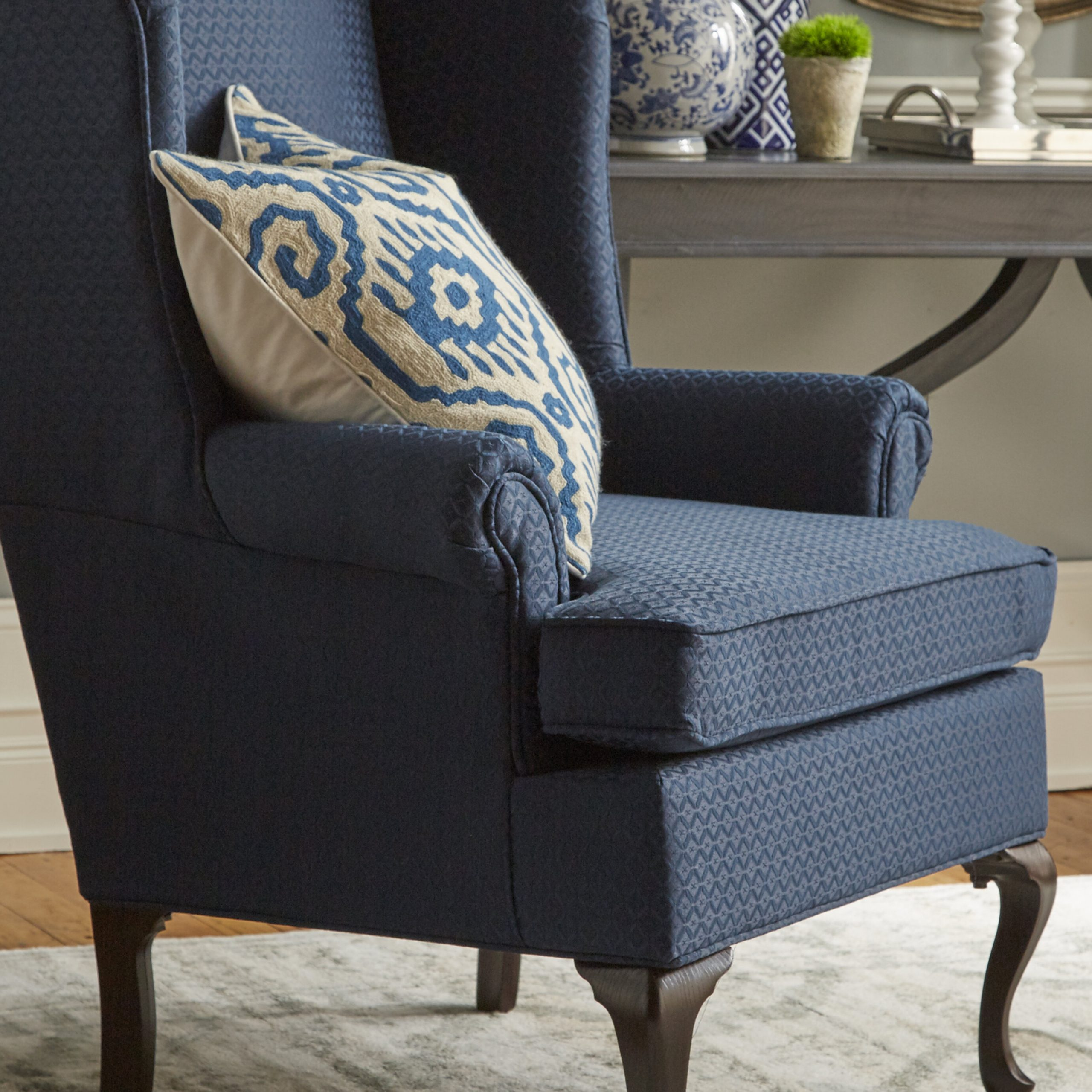 Navy Ottoman Included Accent Chairs You'Ll Love In 2021 Throughout Hallsville Performance Velvet Armchairs And Ottoman (View 6 of 15)