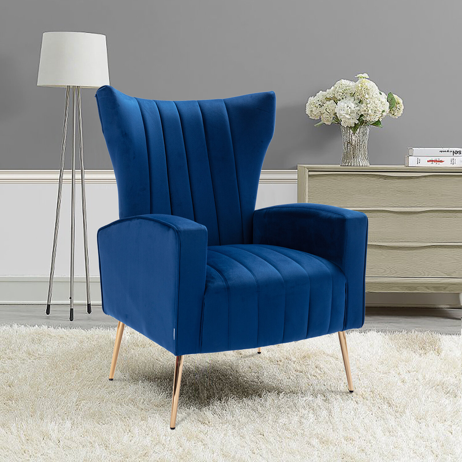 Navy Wood Accent Chairs You'Ll Love In 2021 | Wayfair Intended For Nestor Wingback Chairs (View 7 of 15)