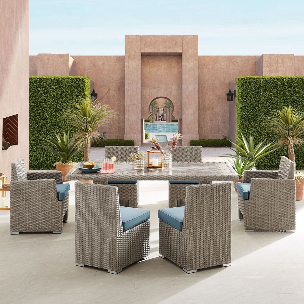Niko 7 Piece Patio Dining Set In Harland Modern Armless Slipper Chairs (View 12 of 15)