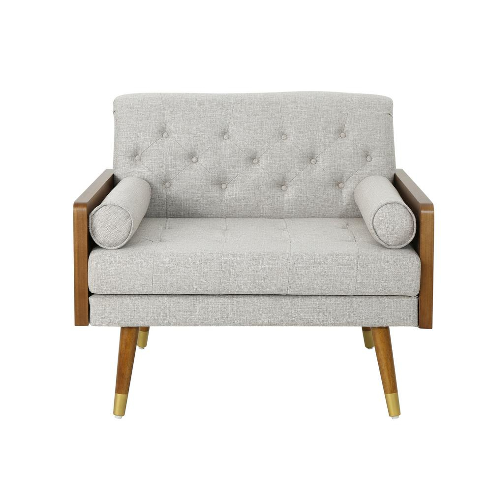 Noble House Frankie Mid Century Modern Tufted Beige Fabric Club Chair,  Beige/Dark Walnut – Home Depot In Alwillie Tufted Back Barrel Chairs (View 8 of 15)