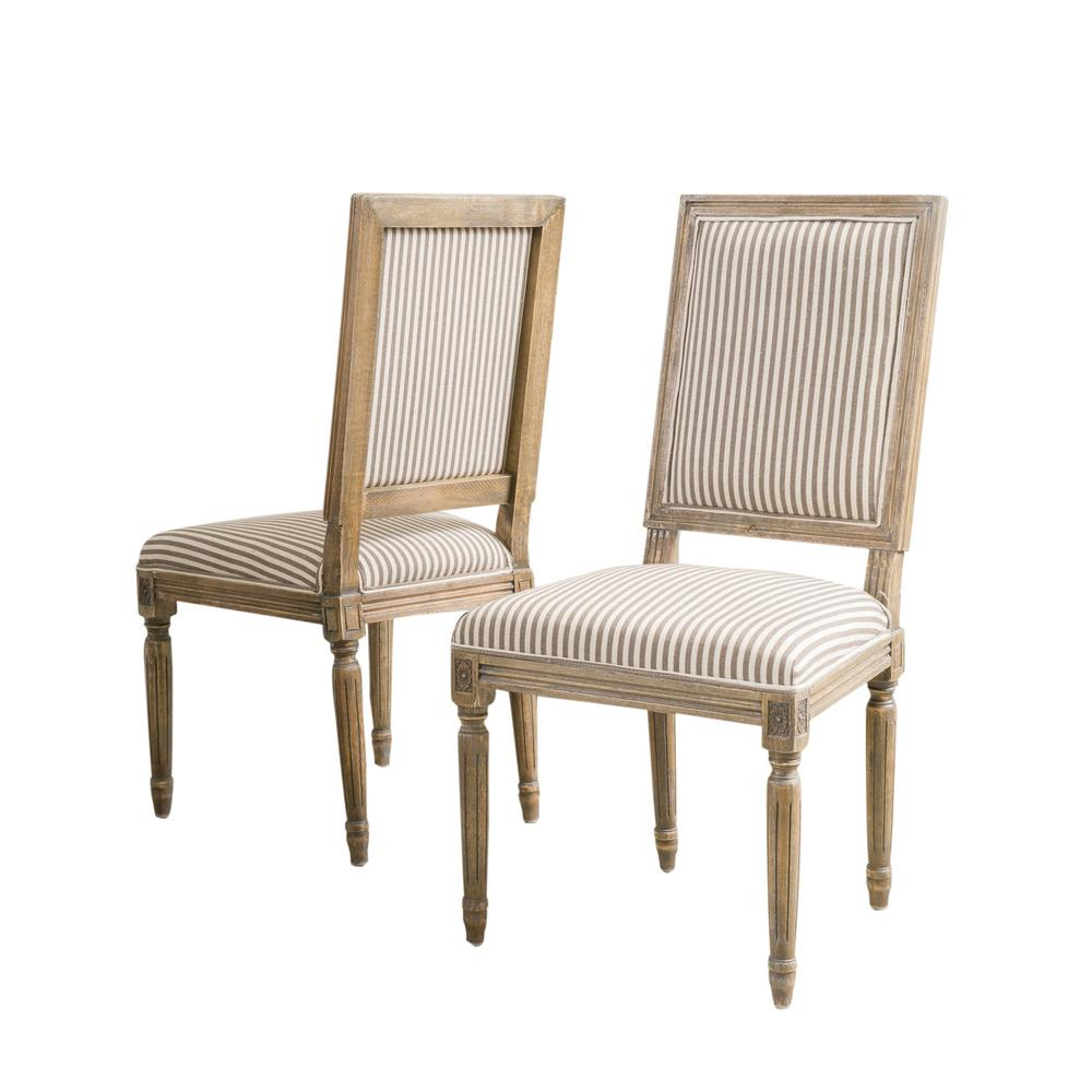 Noble House Madison Dark Coffee Stripe Fabric Weathered Oak Dining Chair (Set Of 2) 3881 – The Home Depot Within Madison Avenue Tufted Cotton Upholstered Dining Chairs (Set Of 2) (View 10 of 15)