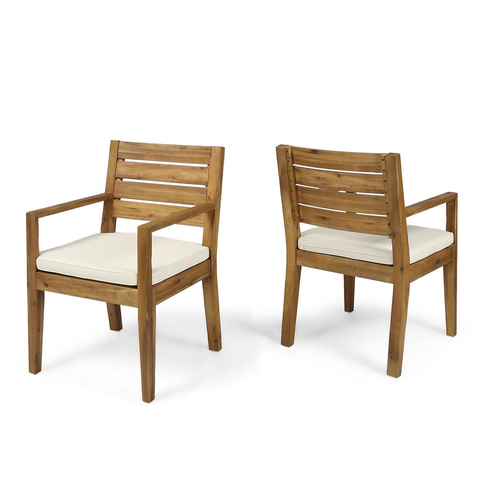 Noble House Nestor Sandblast Wood Outdoor Lounge Chair With Cream Cushions (2 Pack) 53832 – The Home Depot With Nestor Wingback Chairs (View 5 of 15)