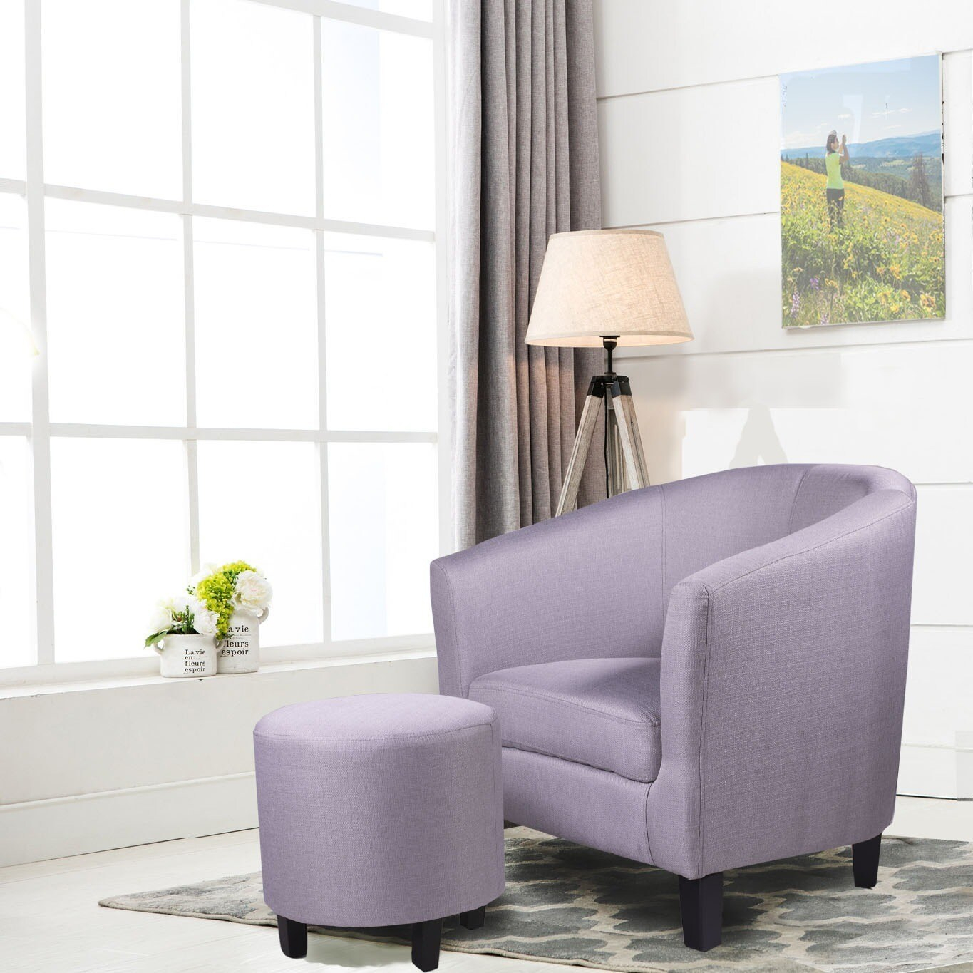 Ocean Bridge Furniture 7Am Collection Lavelle 7Am Barrel Chair And Ottoman Set, Beige/Grey/Silver Regarding Jazouli Linen Barrel Chairs And Ottoman (View 13 of 15)