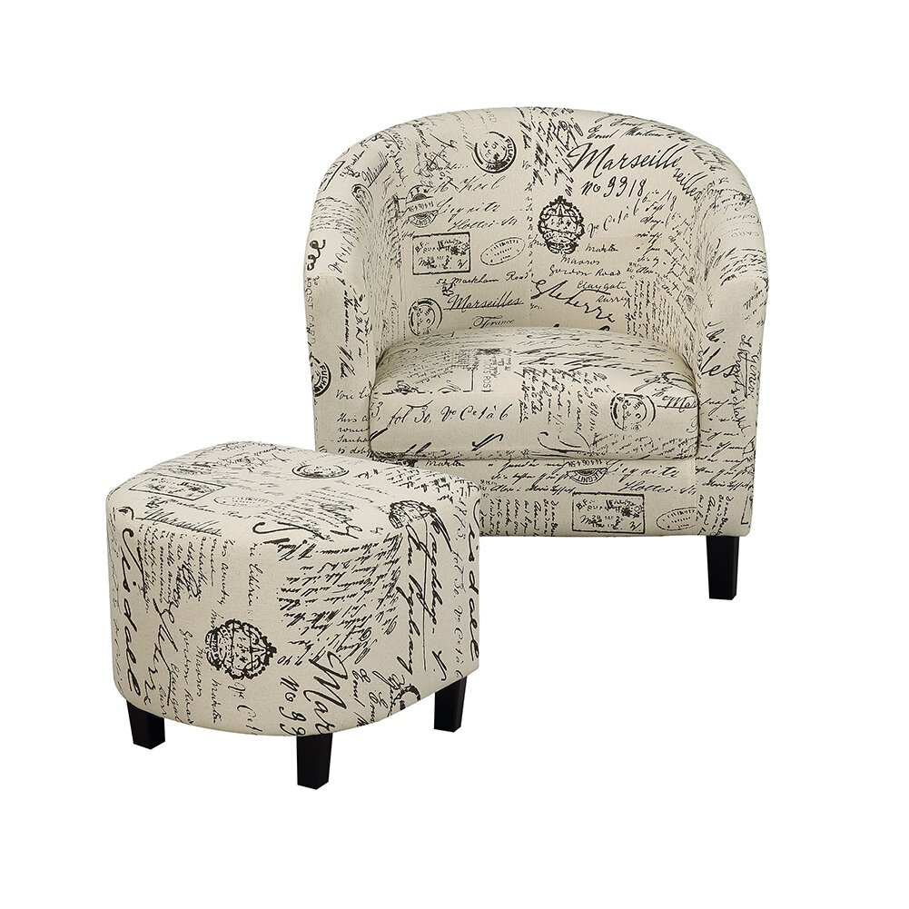 One Allium Way® Savion Retro Living Room Barrel Chair And Throughout Riverside Drive Barrel Chair And Ottoman Sets (View 7 of 15)