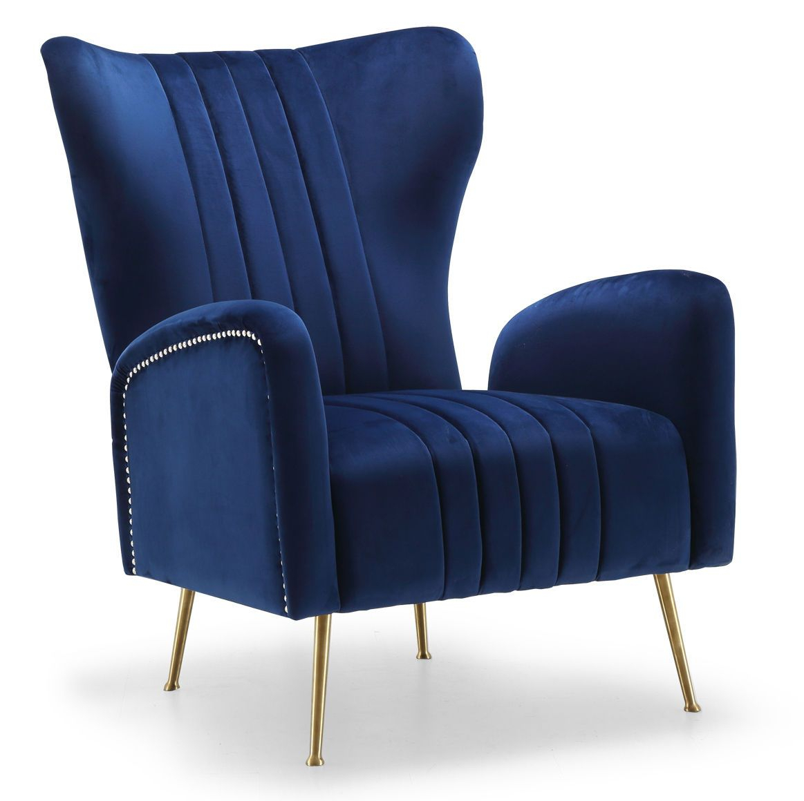 Opera Navy Chair 532 Meridian Furniture Chairs In 2020 Inside Lauretta Velvet Wingback Chairs (View 9 of 15)