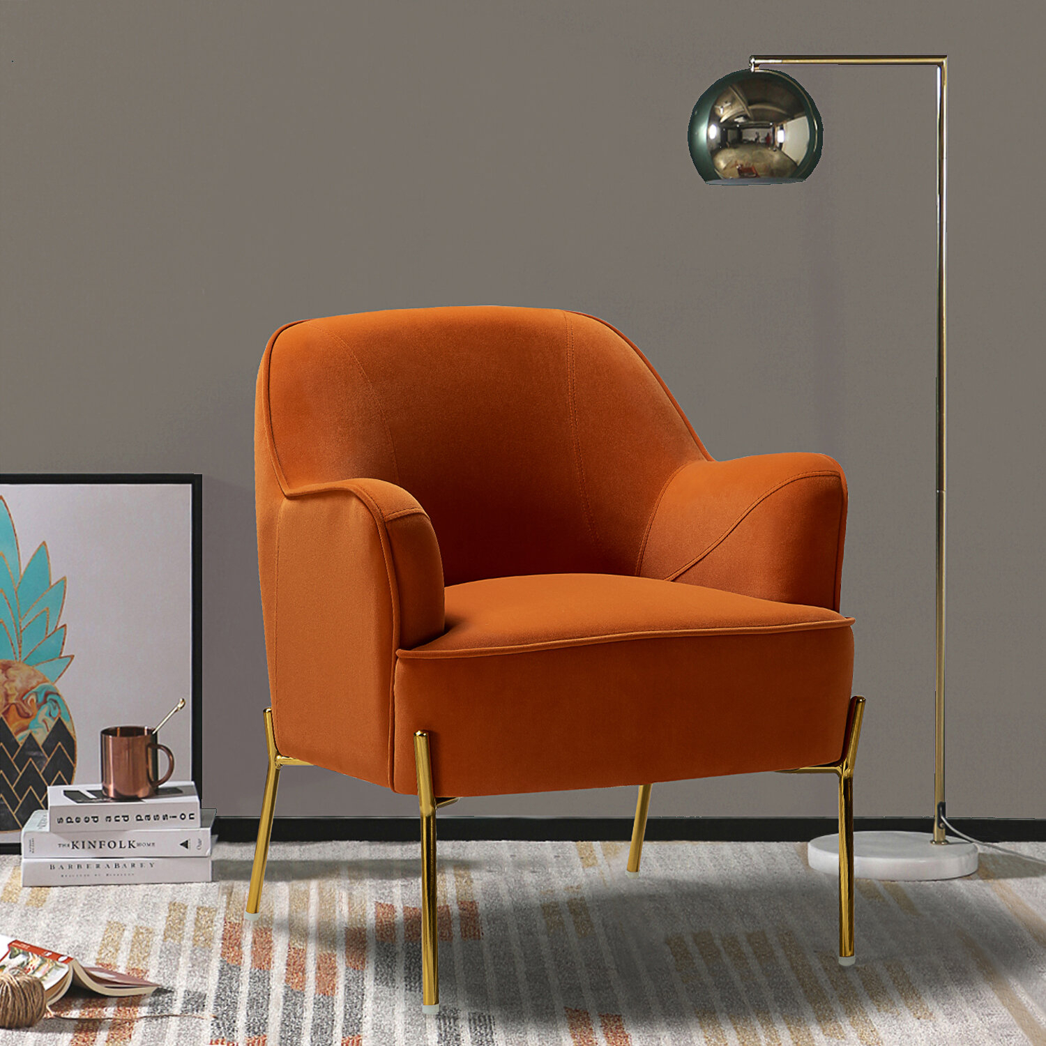 Orange Velvet Accent Chairs You'Ll Love In 2021 | Wayfair In Erastus Armchairs (View 8 of 15)
