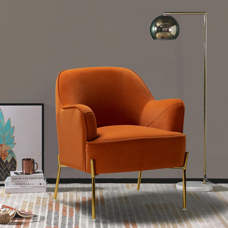 Orange Velvet Accent Chairs You'Ll Love In 2021 | Wayfair In Erastus Armchairs (Photo 8 of 15)