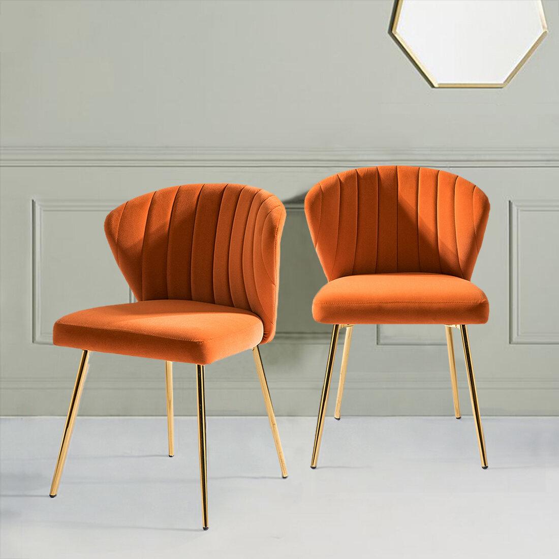 Orange Velvet Accent Chairs You'Ll Love In 2021 | Wayfair Regarding Esmund Side Chairs (Set Of 2) (View 5 of 15)