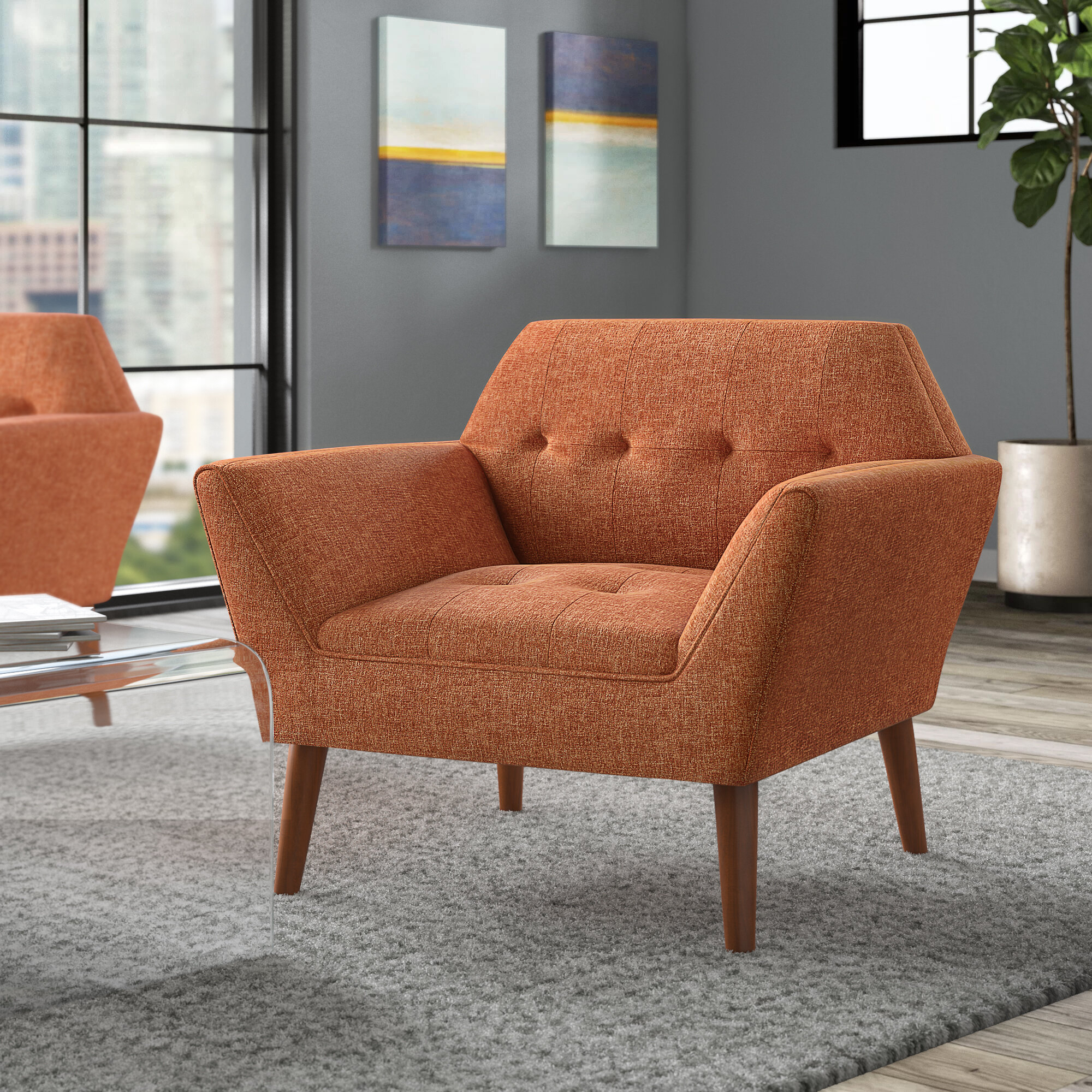 Orange & White Accent Chairs You'Ll Love In 2021 | Wayfair Regarding Belz Tufted Polyester Armchairs (View 8 of 15)