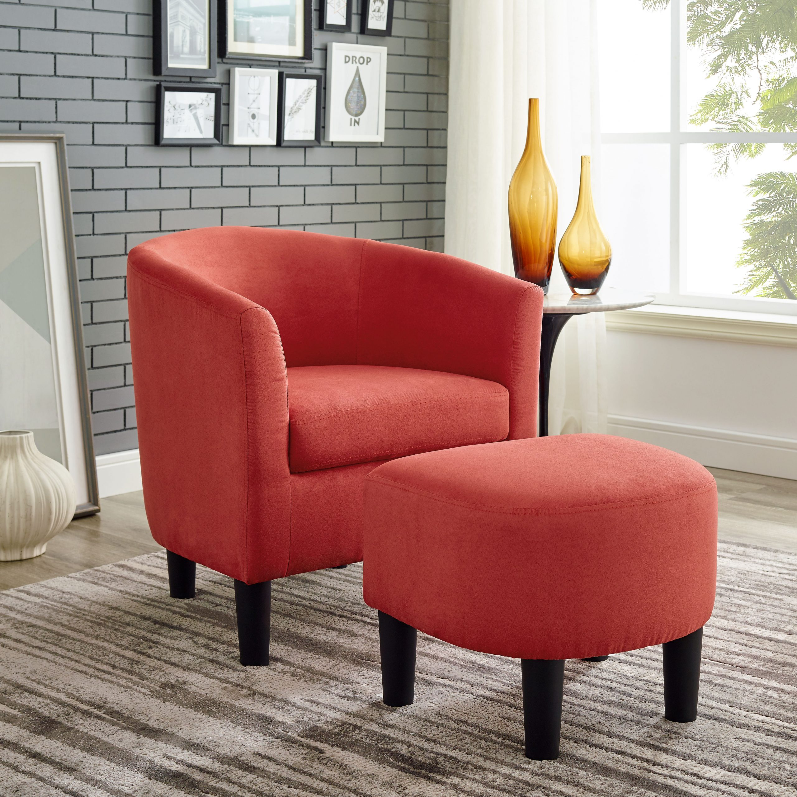 Orange & White Accent Chairs You'Ll Love In 2021   Wayfair Throughout Artemi Barrel Chair And Ottoman Sets (View 5 of 15)