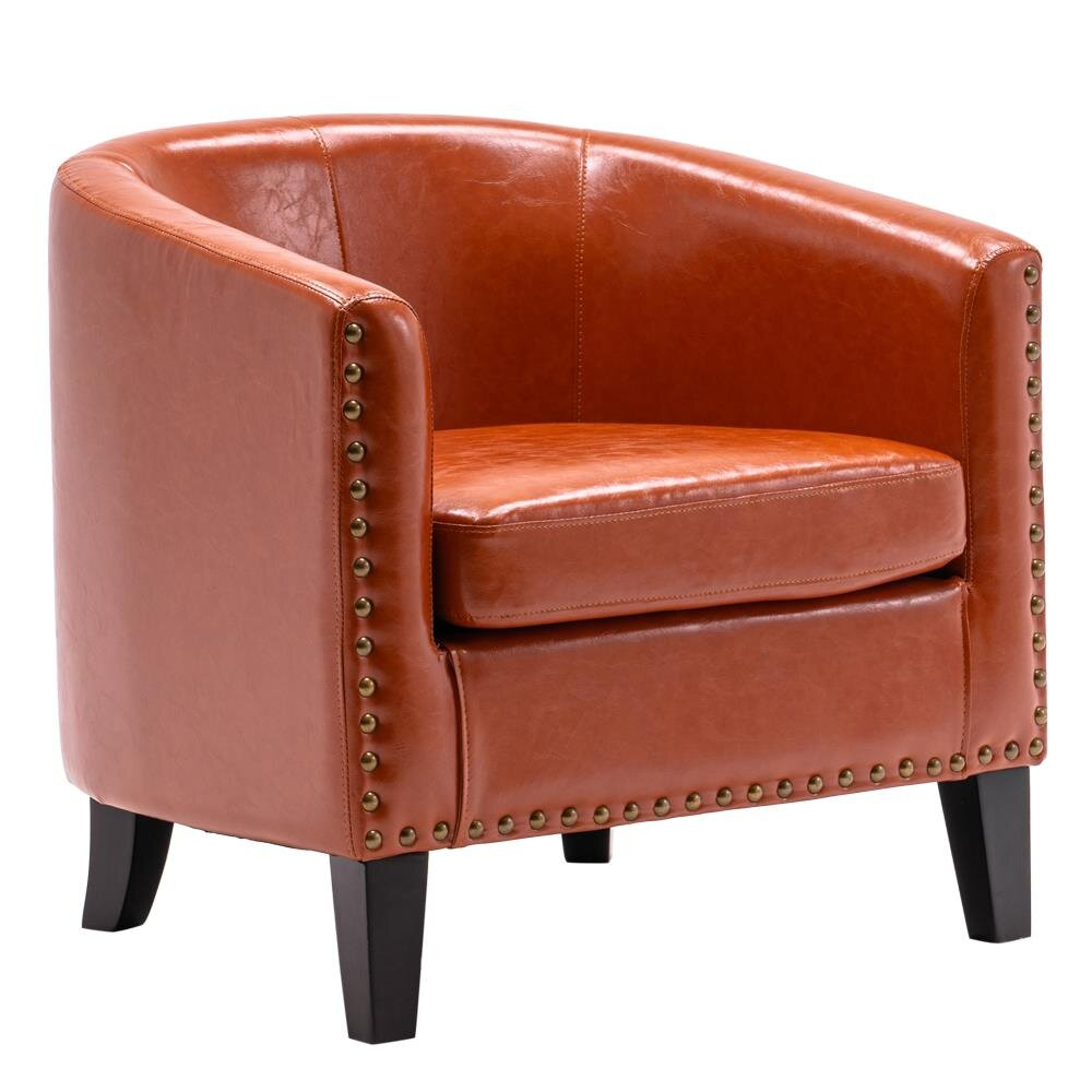 Orange Wood Accent Chairs You'Ll Love In 2021 | Wayfair For Gilad Faux Leather Barrel Chairs (View 2 of 15)