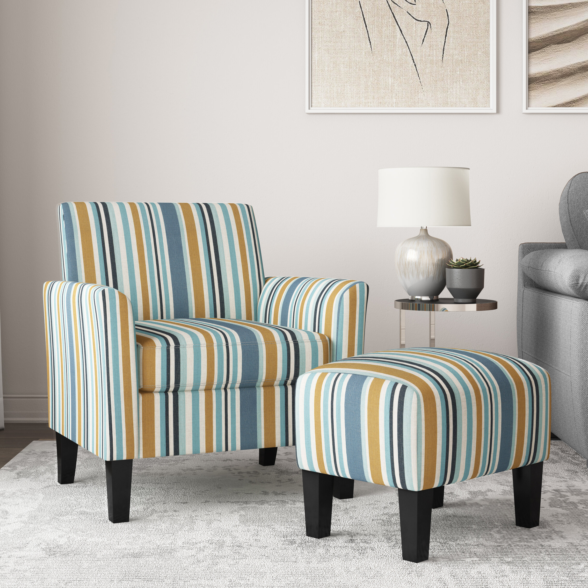 Ottoman Included Small Accent Chairs You'Ll Love In 2021 In Alexander Cotton Blend Armchairs And Ottoman (View 10 of 15)