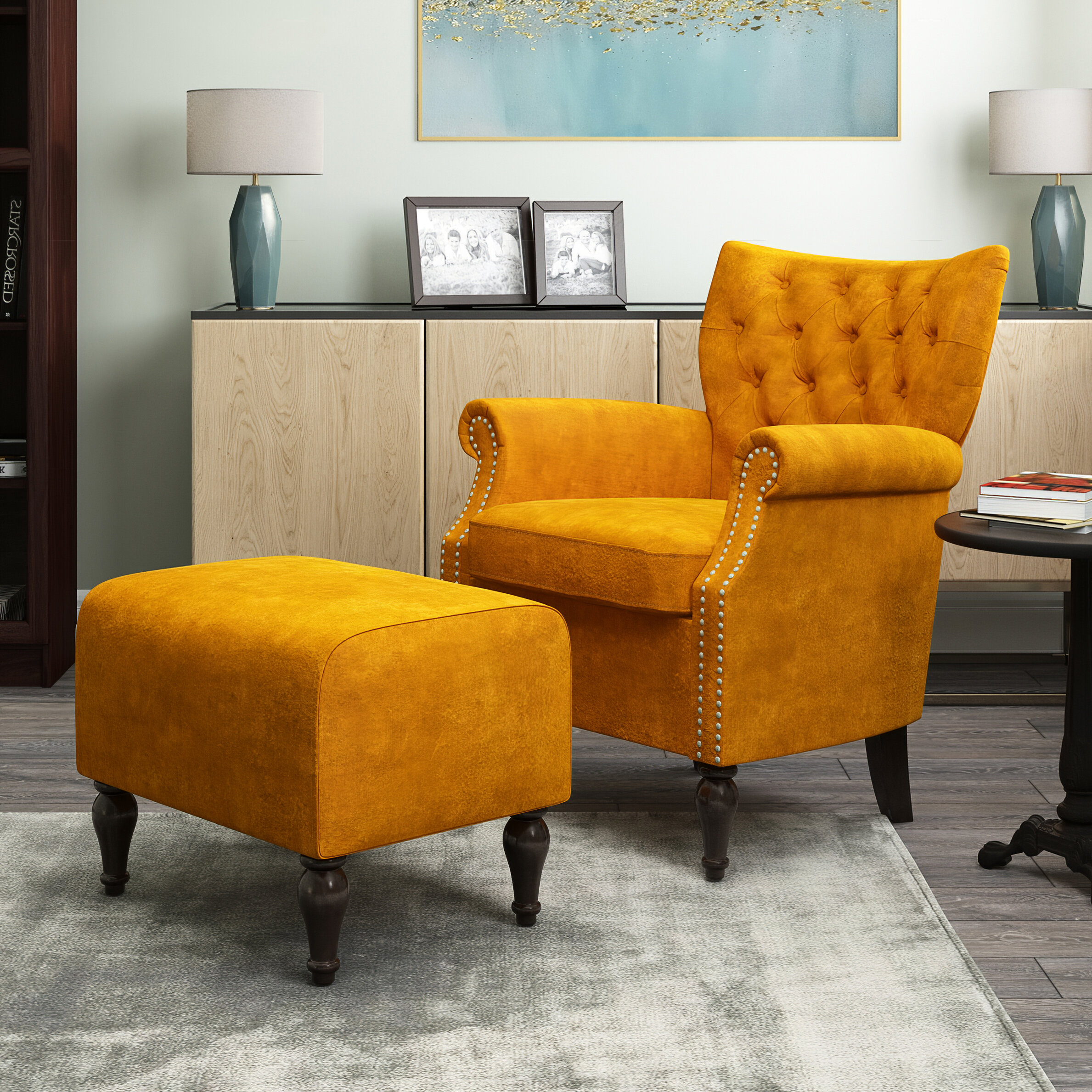 Ottoman Included Small Accent Chairs You'Ll Love In 2021 Throughout Alexander Cotton Blend Armchairs And Ottoman (View 12 of 15)