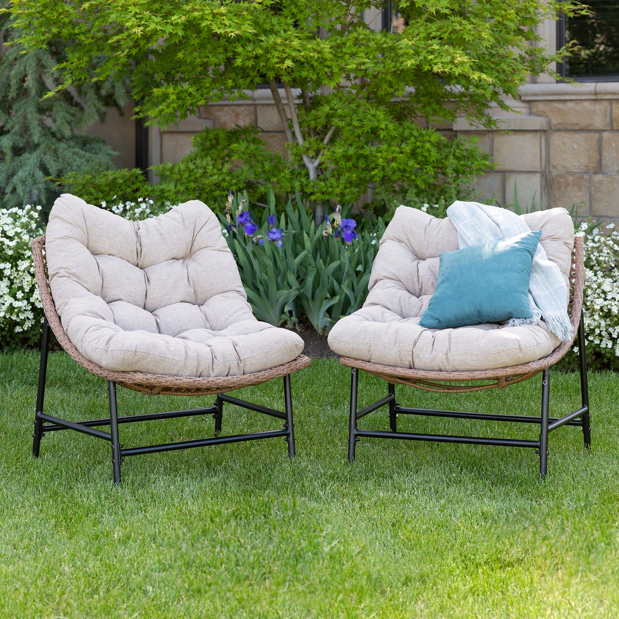 Outdoor Rattan Papasan Chairs With Cushions, Set Of 2 Inside Decker Papasan Chairs (View 10 of 15)