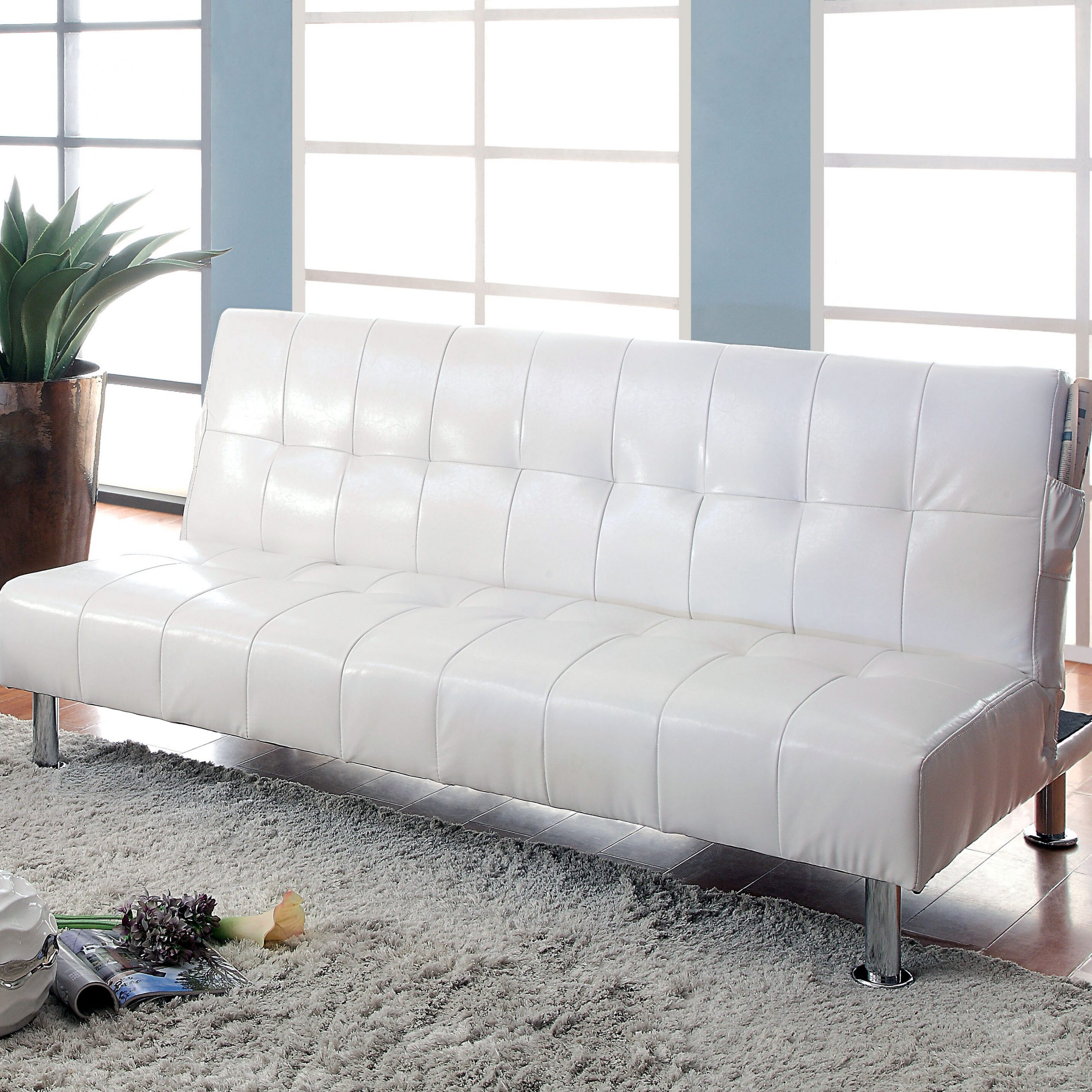 Perz Tufted Convertible Sofa For Perz Tufted Faux Leather Convertible Chairs (View 5 of 15)