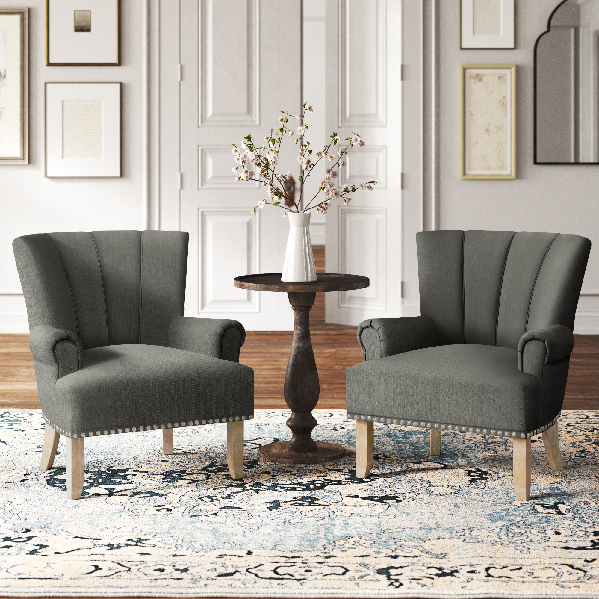Polyester & Polyester Blend White Accent Chairs You'Ll Love Inside Bethine Polyester Armchairs (Set Of 2) (View 3 of 15)