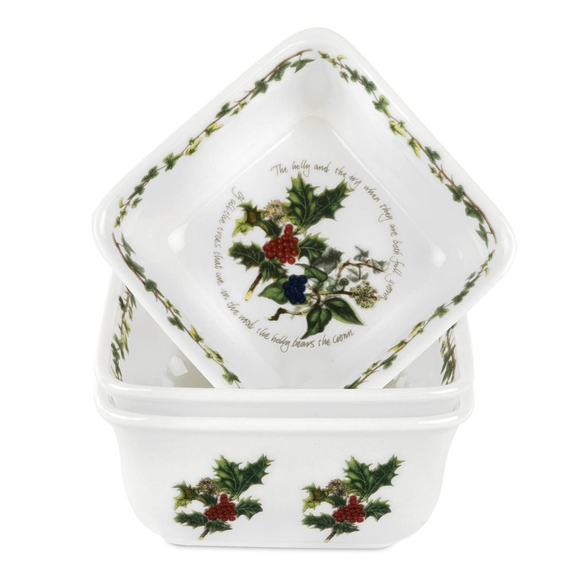 Portmeirion The Holly And The Ivy Mini Square Dishes Set Of 3 Regarding Portmeirion Armchairs (View 14 of 15)