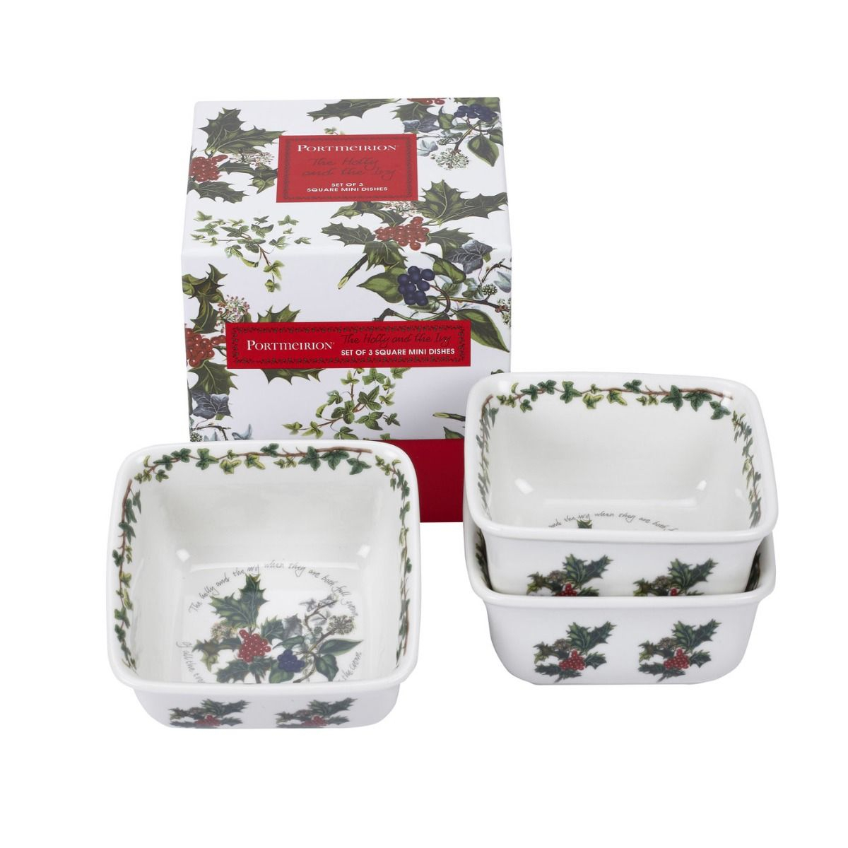 Portmeirion The Holly And The Ivy Mini Square Dishes Set Of 3 Regarding Portmeirion Armchairs (View 10 of 15)