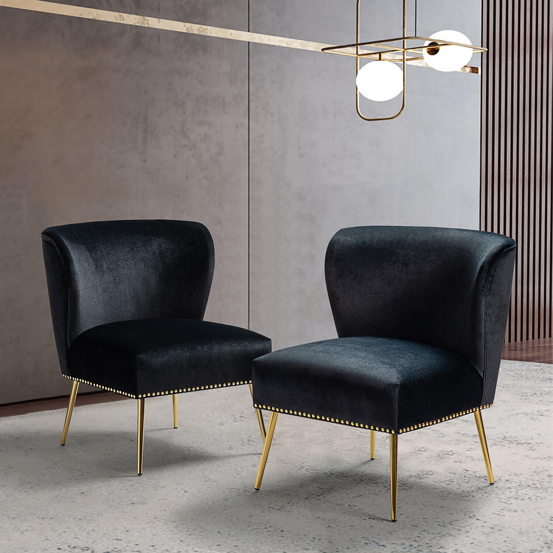 Pugsley 26'' W Velvet Side Chair In Erasmus Velvet Side Chairs (Set Of 2) (View 8 of 15)