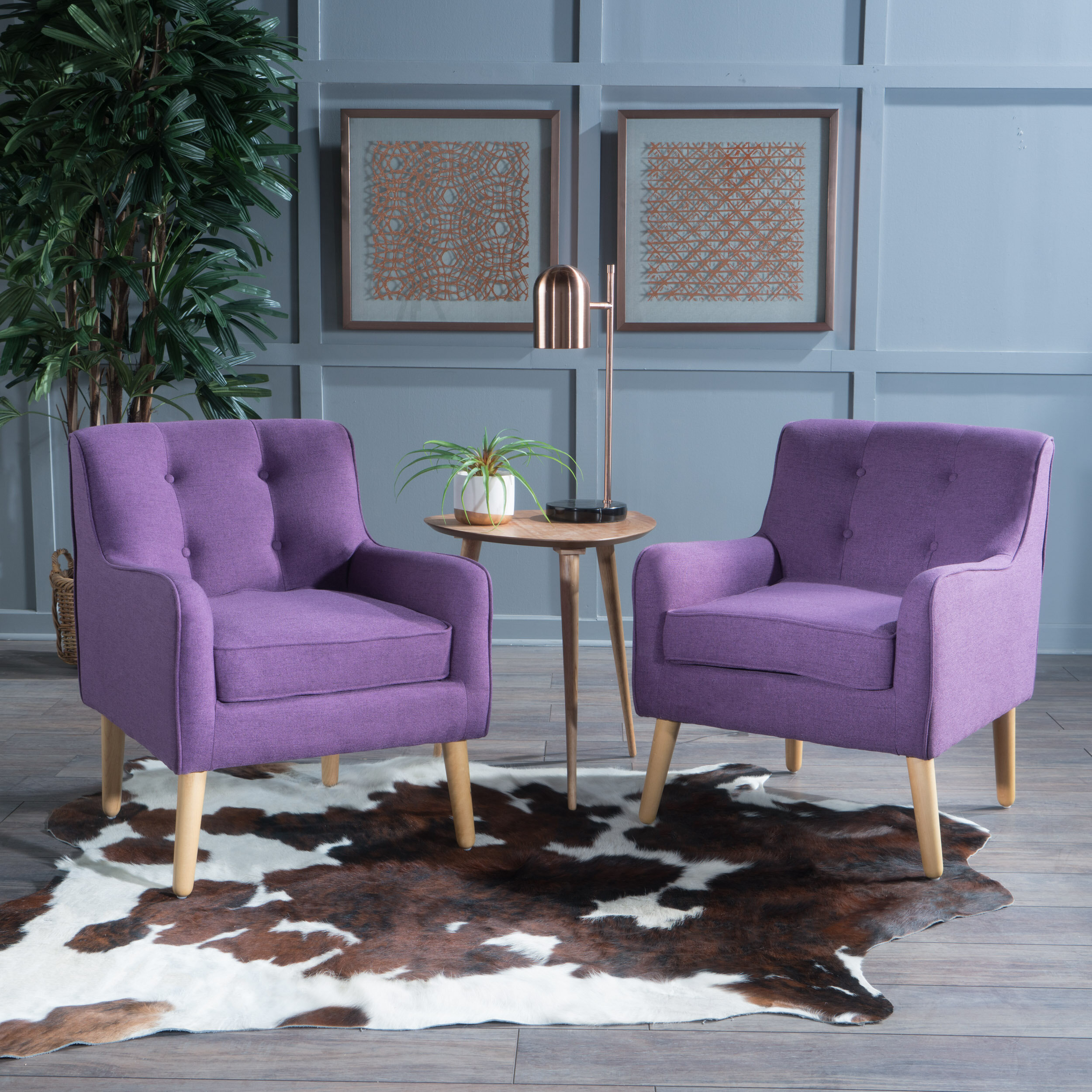 Purple Scandinavian Accent Chairs You'Ll Love In 2021 | Wayfair For Claudel Polyester Blend Barrel Chairs (View 14 of 15)