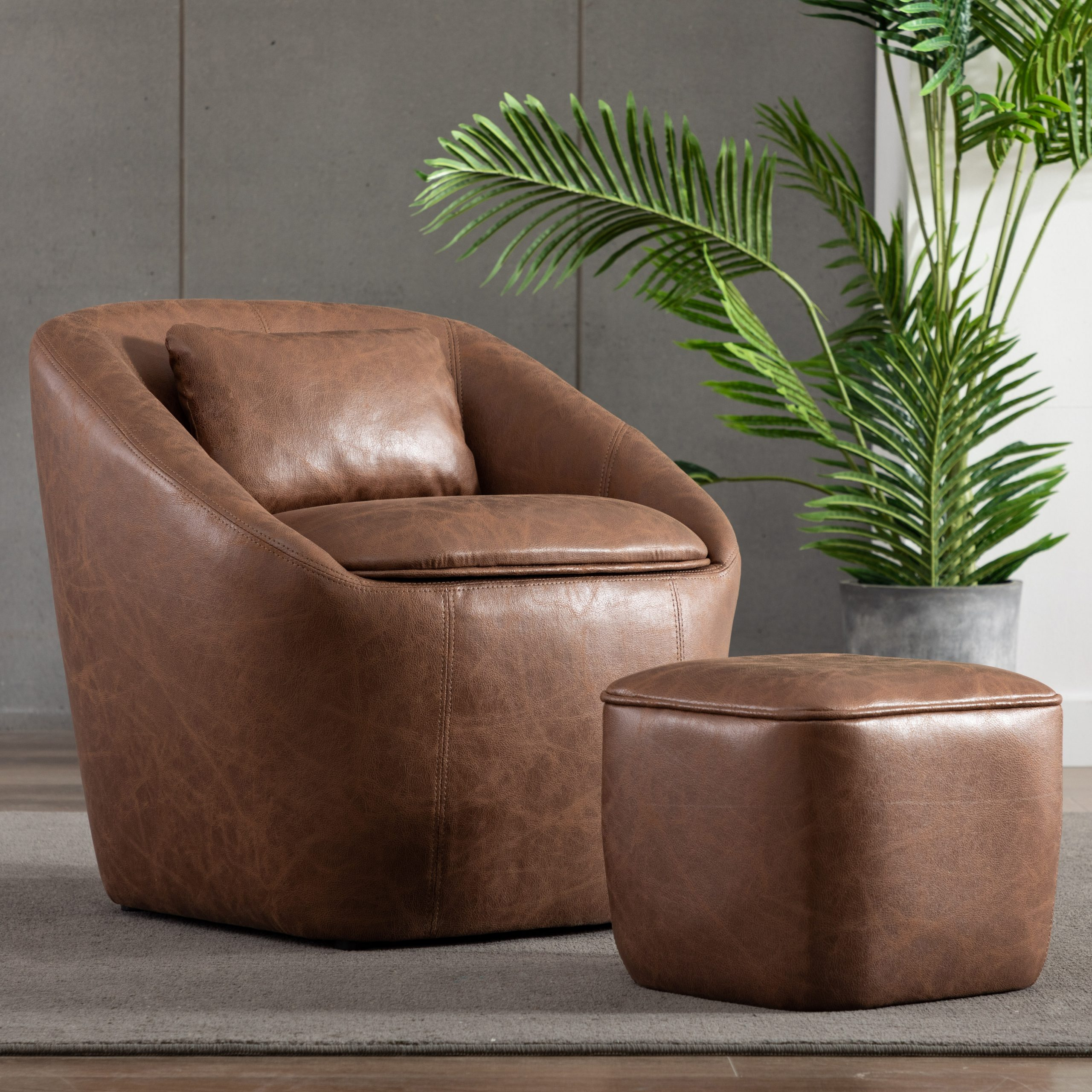 Raguel Barrel Chair And Ottoman With Regard To Annegret Faux Leather Barrel Chair And Ottoman Sets (View 2 of 15)