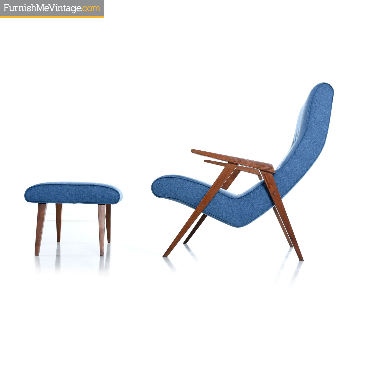 Restored Jens Risom Style Compass Leg Scoop Lounge Armchair And Ottoman Throughout Modern Armchairs And Ottoman (View 4 of 15)