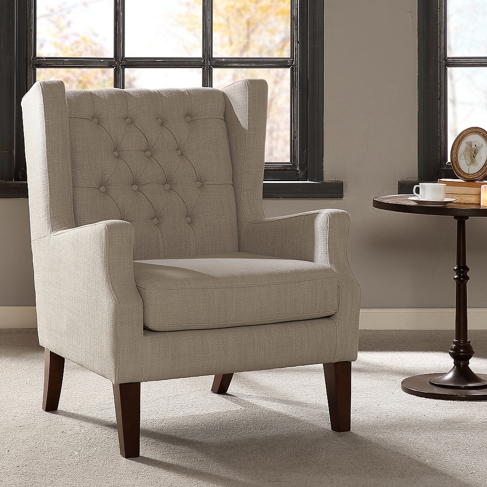 Roan Linen Wingback Button Tufted Accent Chair – Style # 82W86 For Galesville Tufted Polyester Wingback Chairs (View 14 of 15)