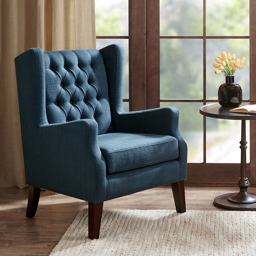 Roan Navy Wingback Button Tufted Accent Chair – Style # 82W87 – Lamps Plus Throughout Lenaghan Wingback Chairs (View 7 of 15)