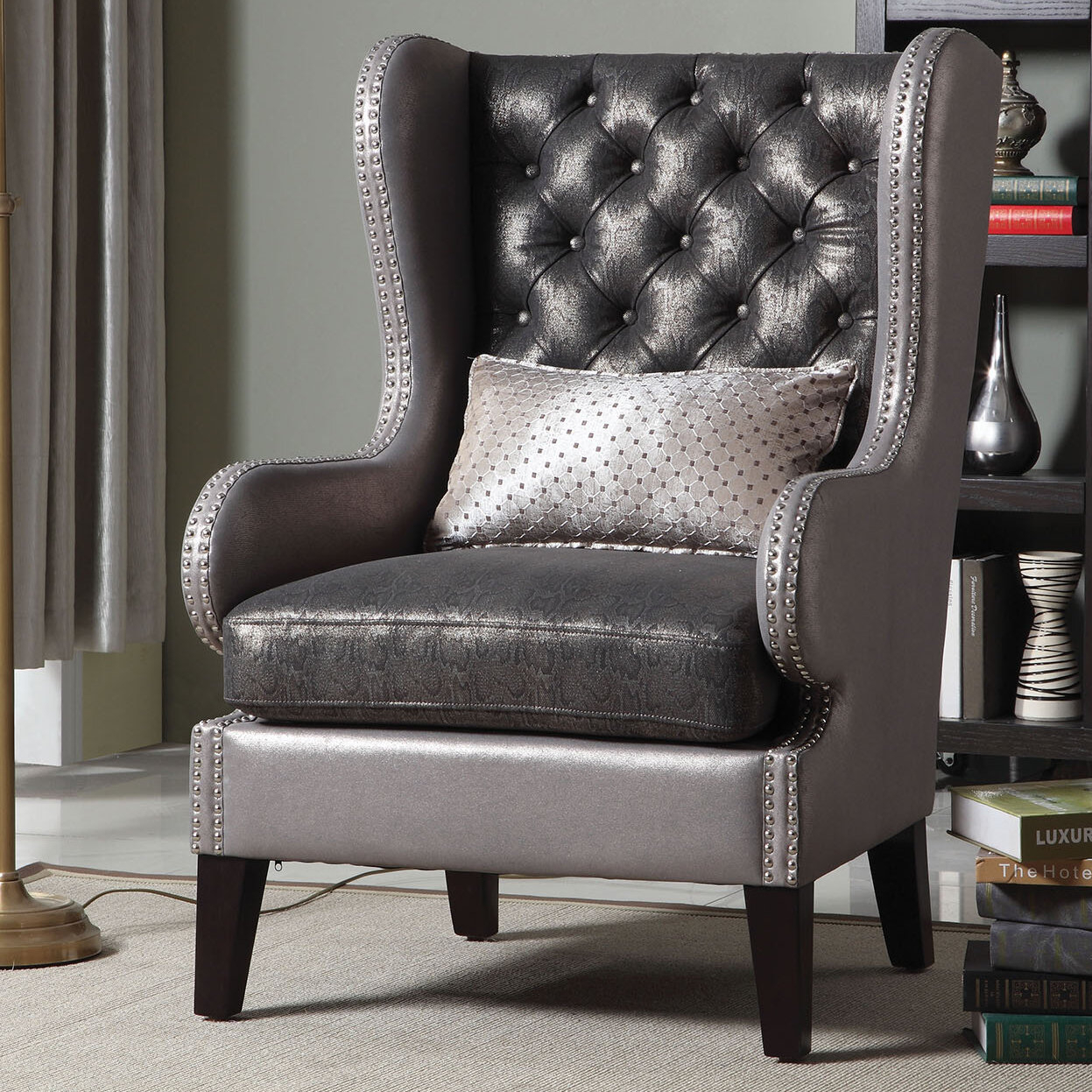 """Roche 31"""" W Tufted Wingback Chair Intended For Sweetwater Wingback Chairs (View 13 of 15)"""