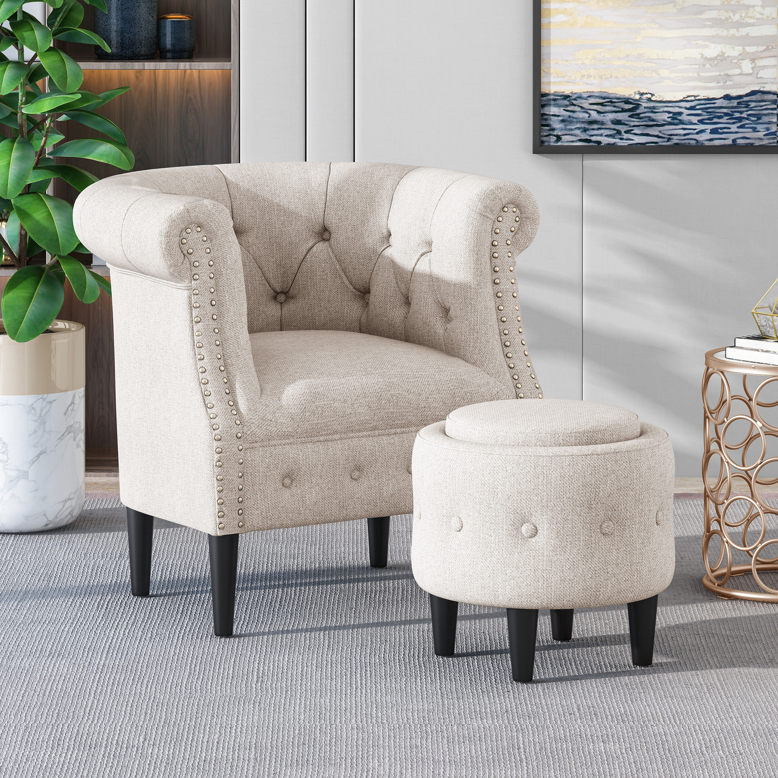 Featured Image of Starks Tufted Fabric Chesterfield Chair And Ottoman Sets