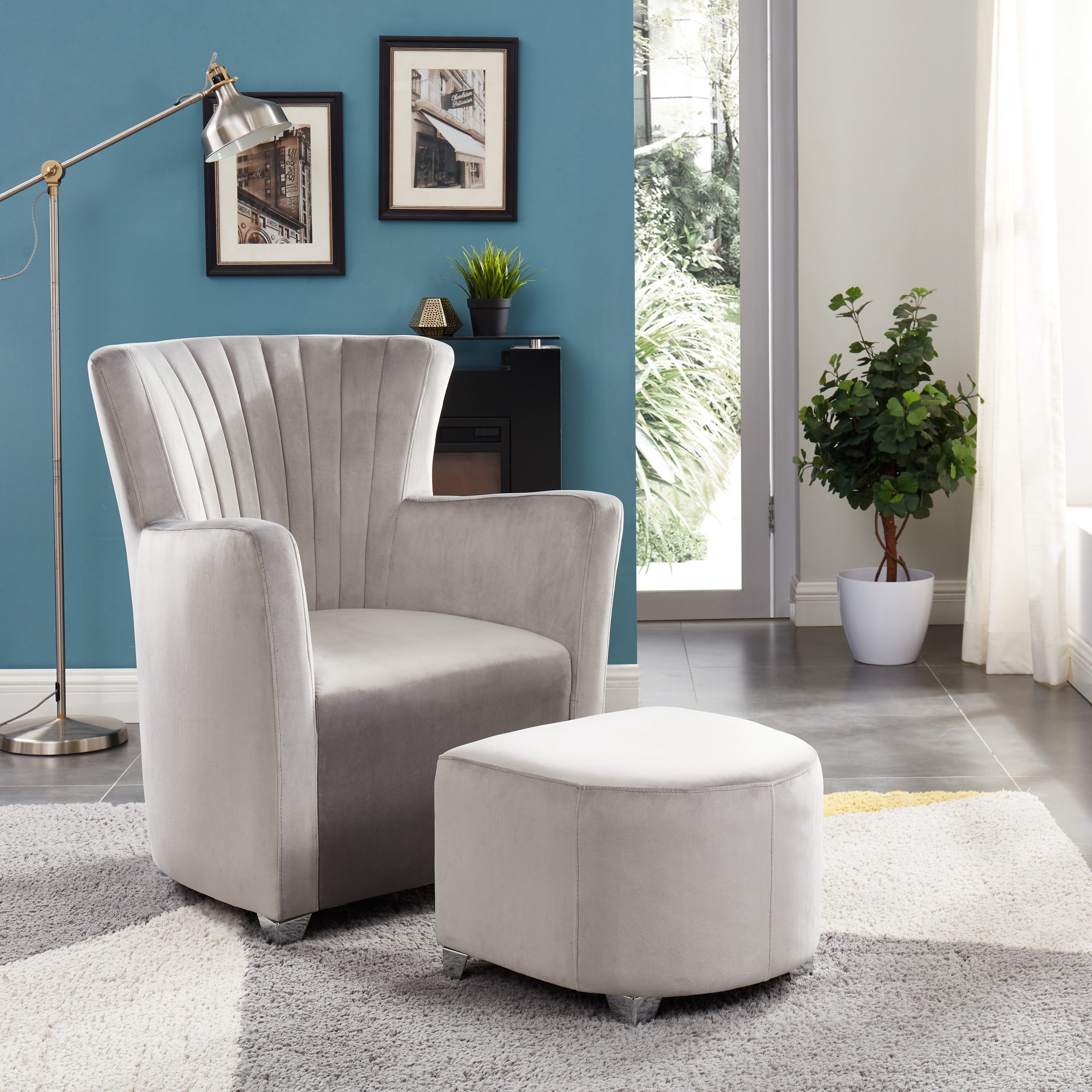 Ryanne Club Chair And Ottoman With Hallsville Performance Velvet Armchairs And Ottoman (View 11 of 15)