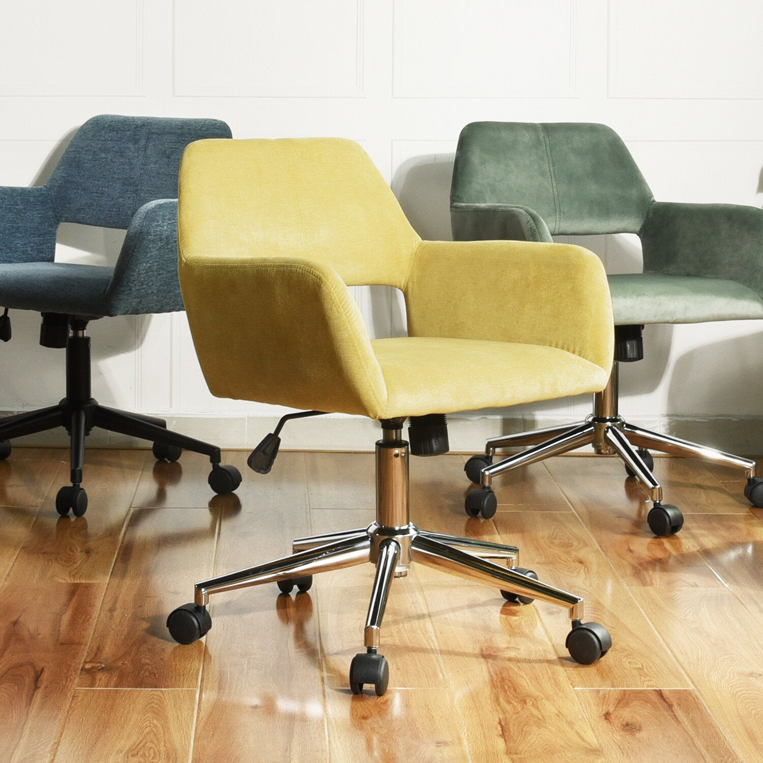 Sabrina Velvet Home Office Swivel Chair Pertaining To Brister Swivel Side Chairs (View 13 of 15)