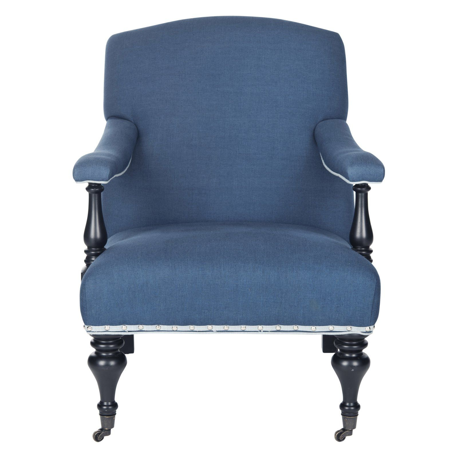 Safavieh Devona Linen Arm Chair | Linen Armchair, Blue In Leia Polyester Armchairs (View 10 of 15)